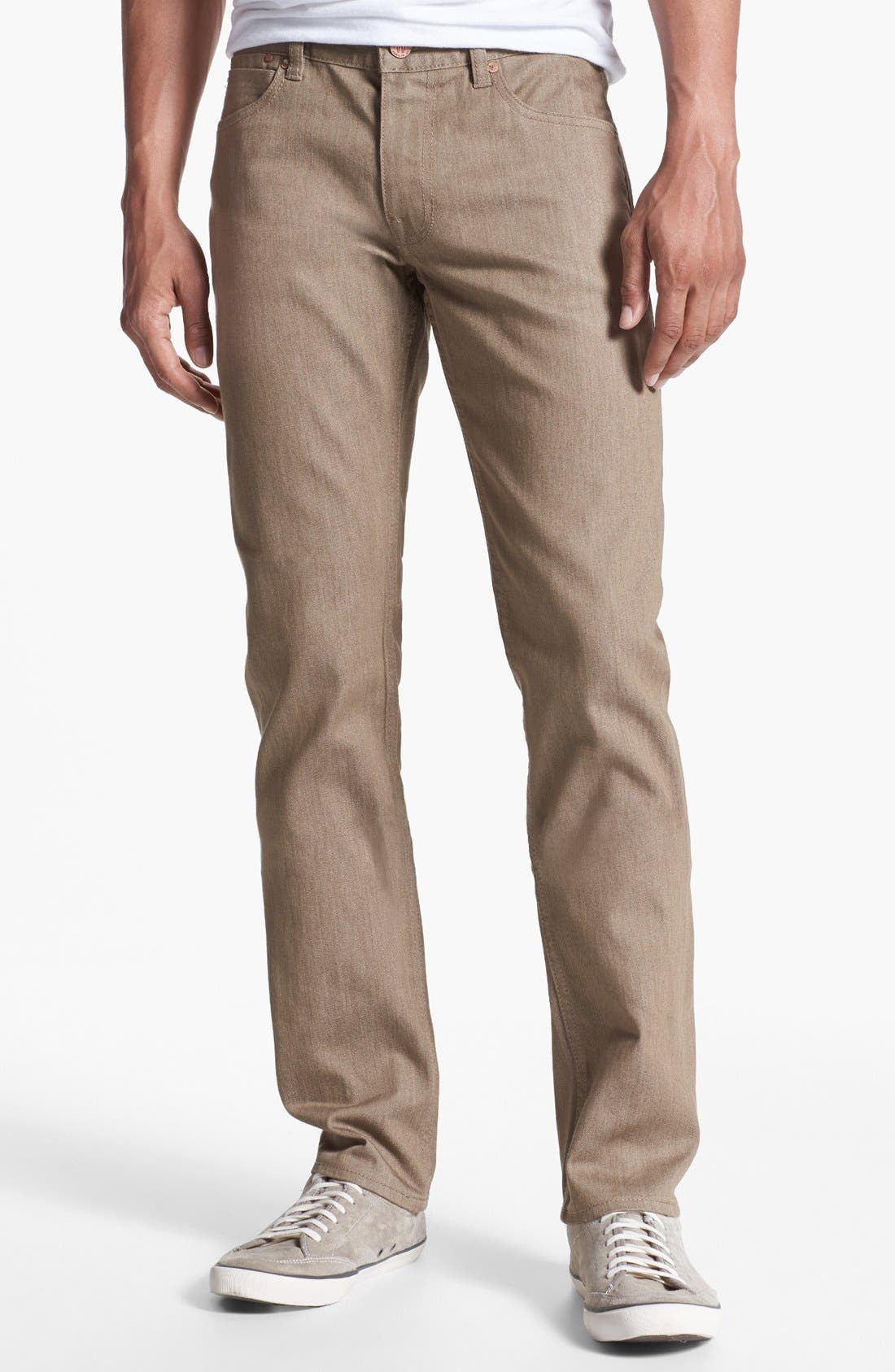 Alternate Image 1 Selected - Williamsburg Garment Company 'S. 4th Street' Skinny Stretch Fit Jeans (Raw Tan)