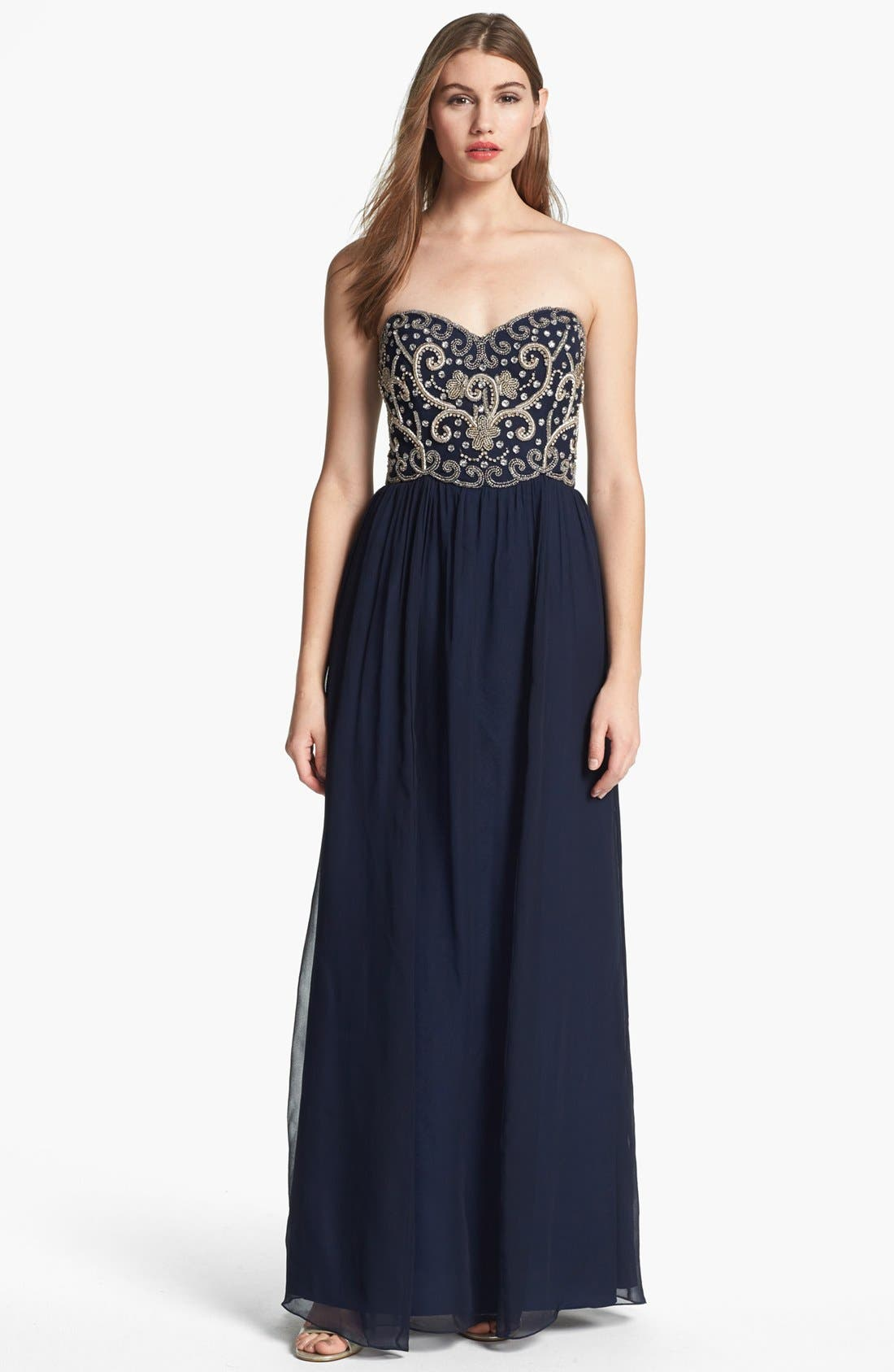 Main Image - Sean Collection Embellished Strapless Silk Gown (Online Only)