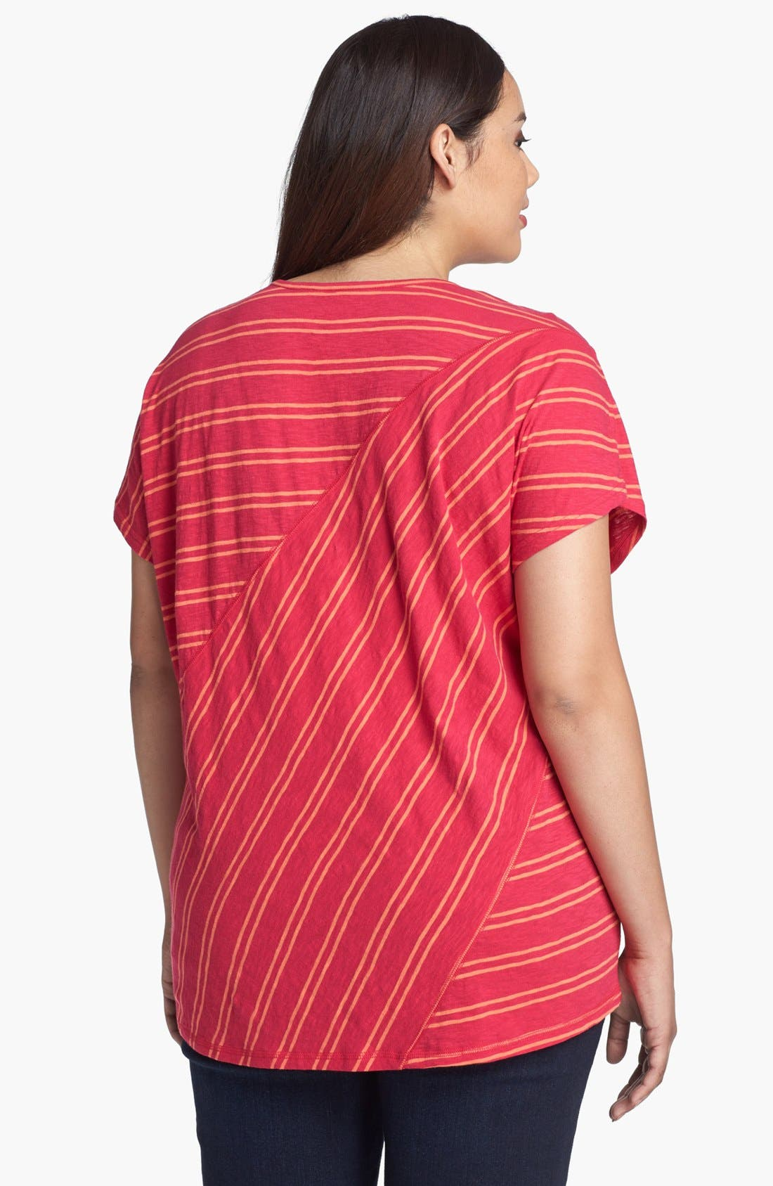 Alternate Image 2  - Sejour Stripe Slubbed Tee (Plus Size)