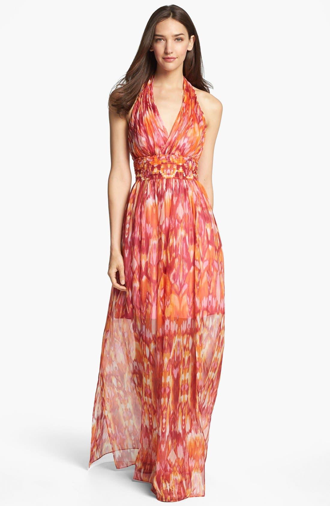 Main Image - Laundry by Shelli Segal 'Sun Shadow' Print Halter Dress