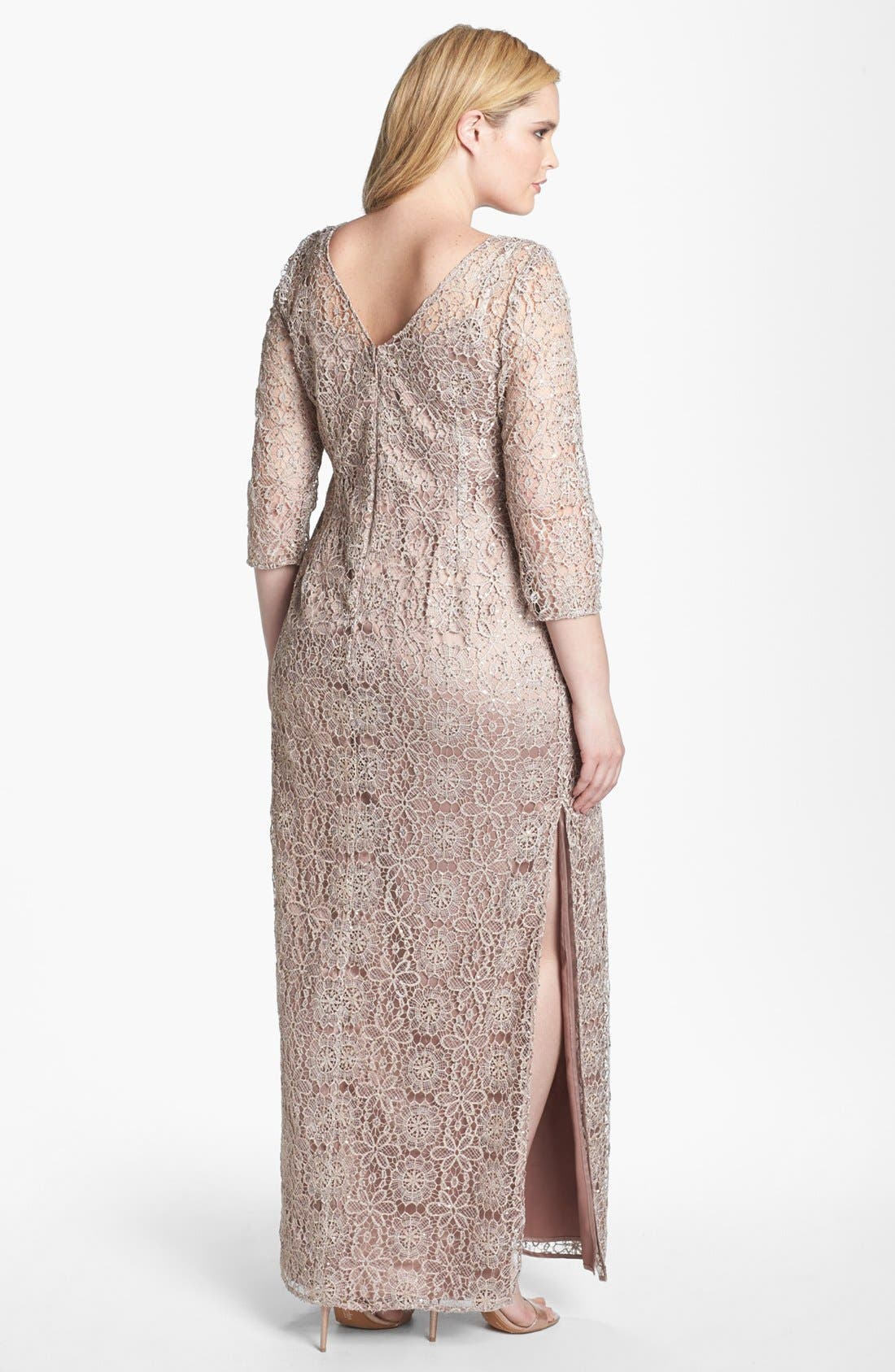 Alternate Image 2  - Adrianna Papell Floral Lace Column Gown (Plus Size)