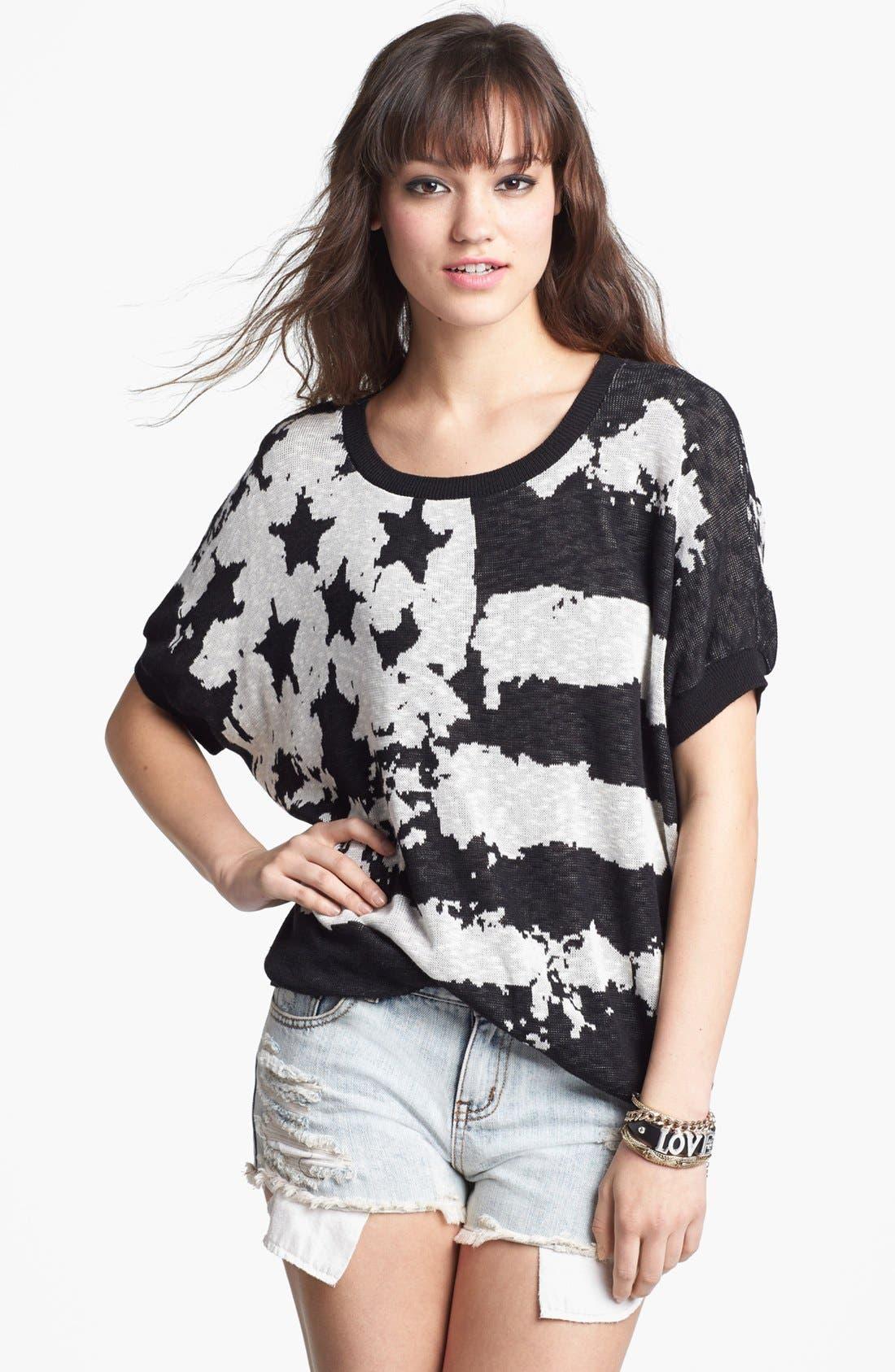 Alternate Image 1 Selected - Truehitt Dolman Sleeve Flag Sweater (Juniors)