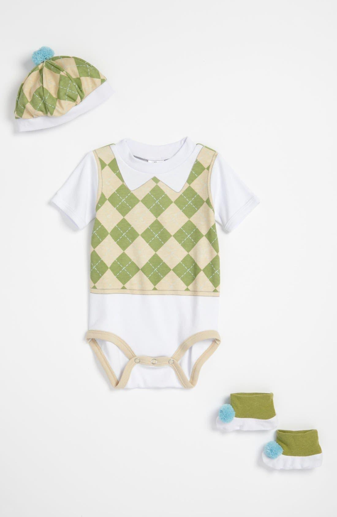 Alternate Image 2  - Baby Aspen 'Sweet Tea' Bodysuit, Booties & Hat Set (Baby)