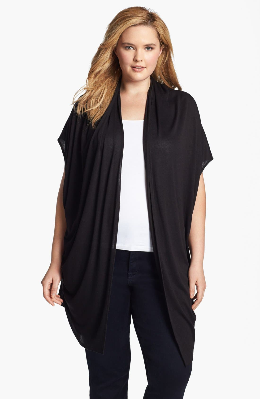 Alternate Image 1 Selected - Three Dots Convertible Draped Cardigan (Plus Size)