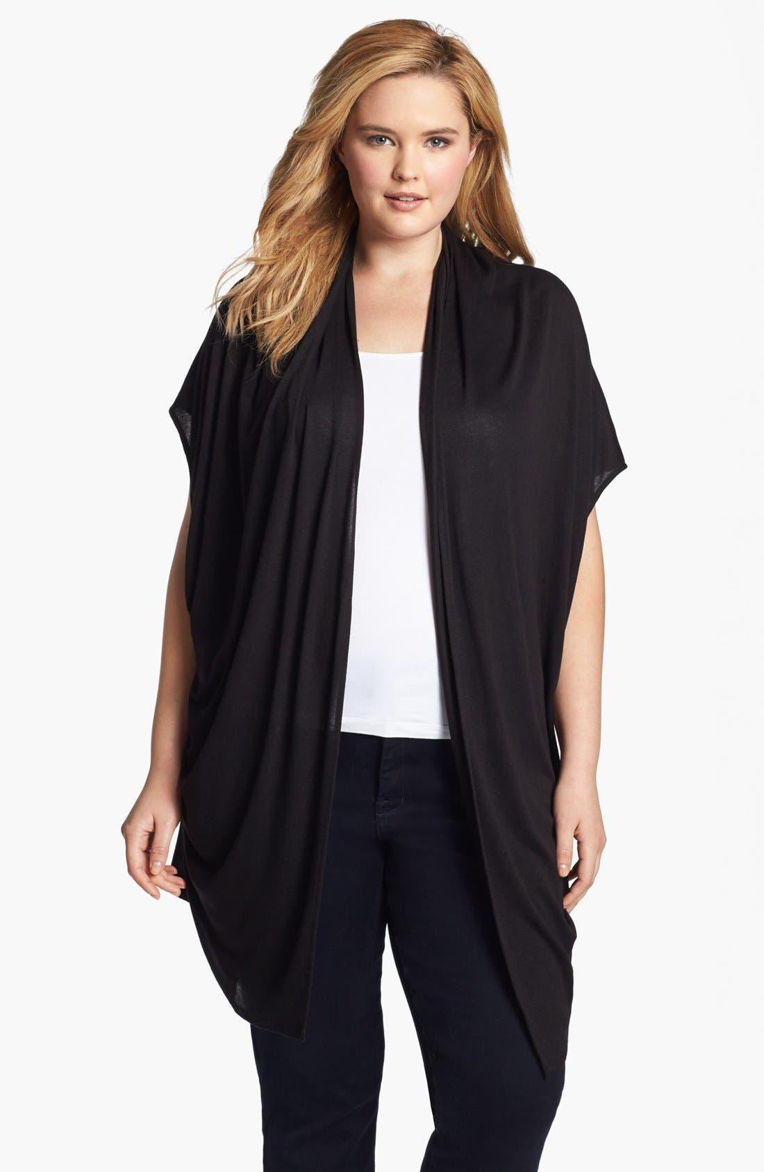 Main Image - Three Dots Convertible Draped Cardigan (Plus Size)