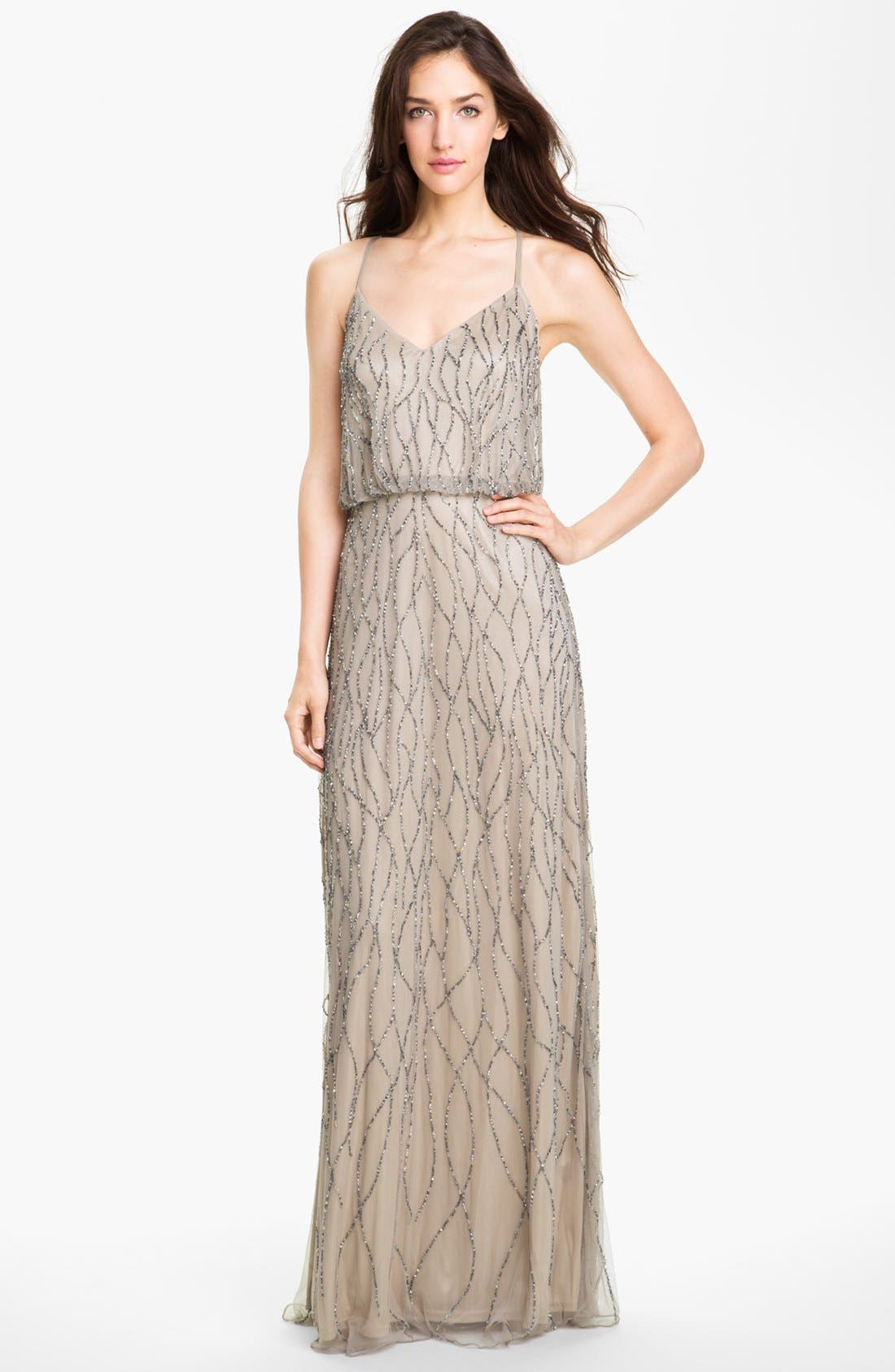 Main Image - Adrianna Papell Beaded Mesh Blouson Gown