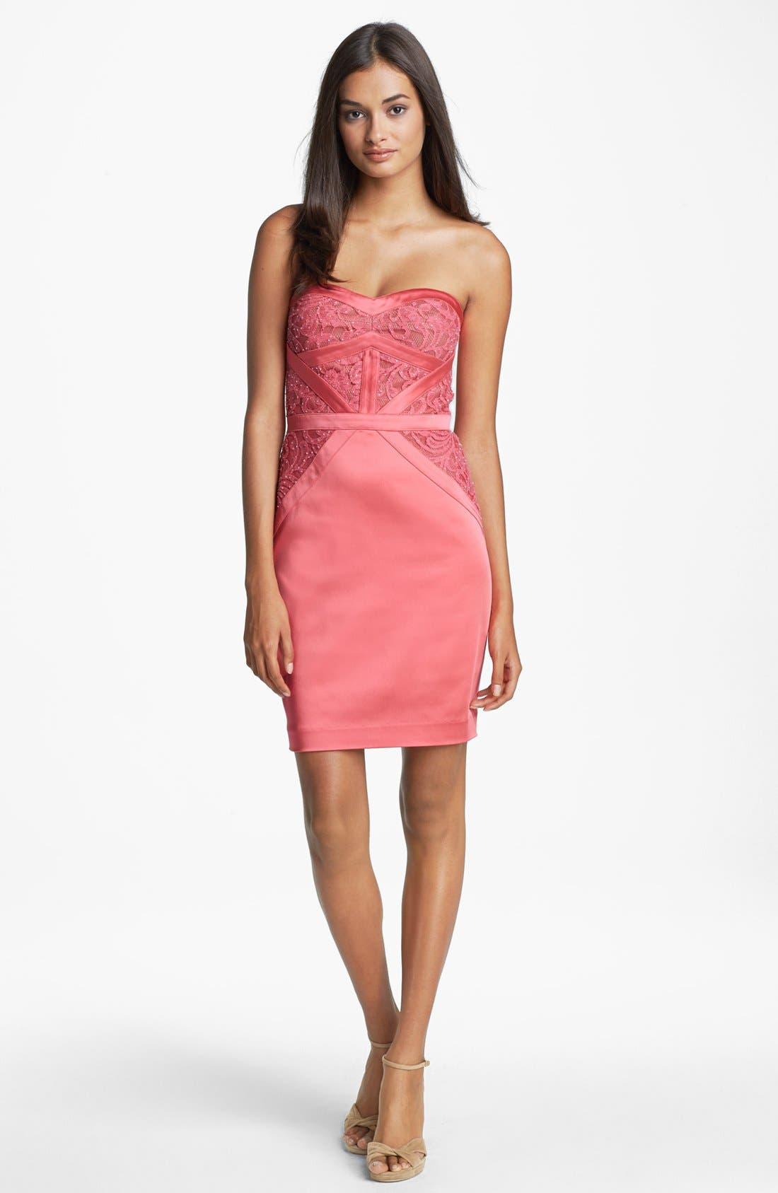Main Image - Aidan Mattox Embellished Lace Strapless Sheath Dress (Online Only)