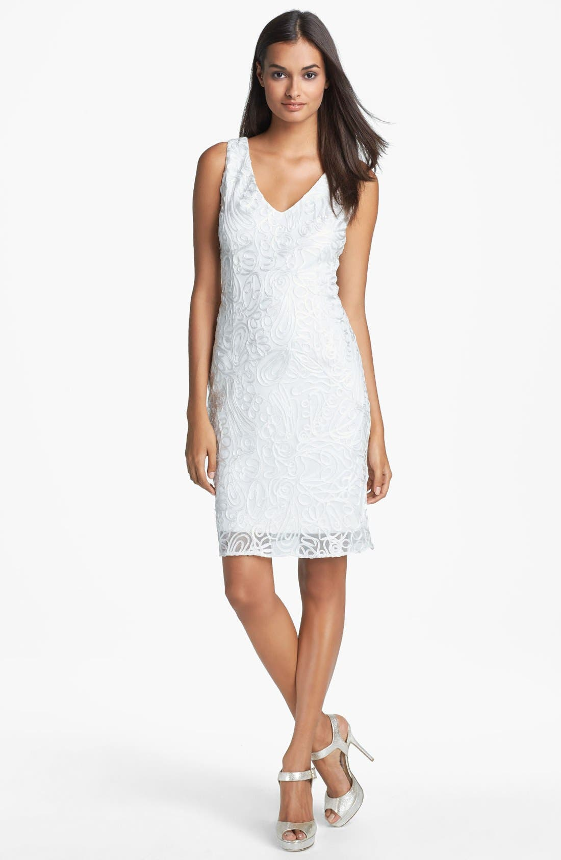 Main Image - Hailey by Adrianna Papell Embroidered Sheath Dress (Online Only)