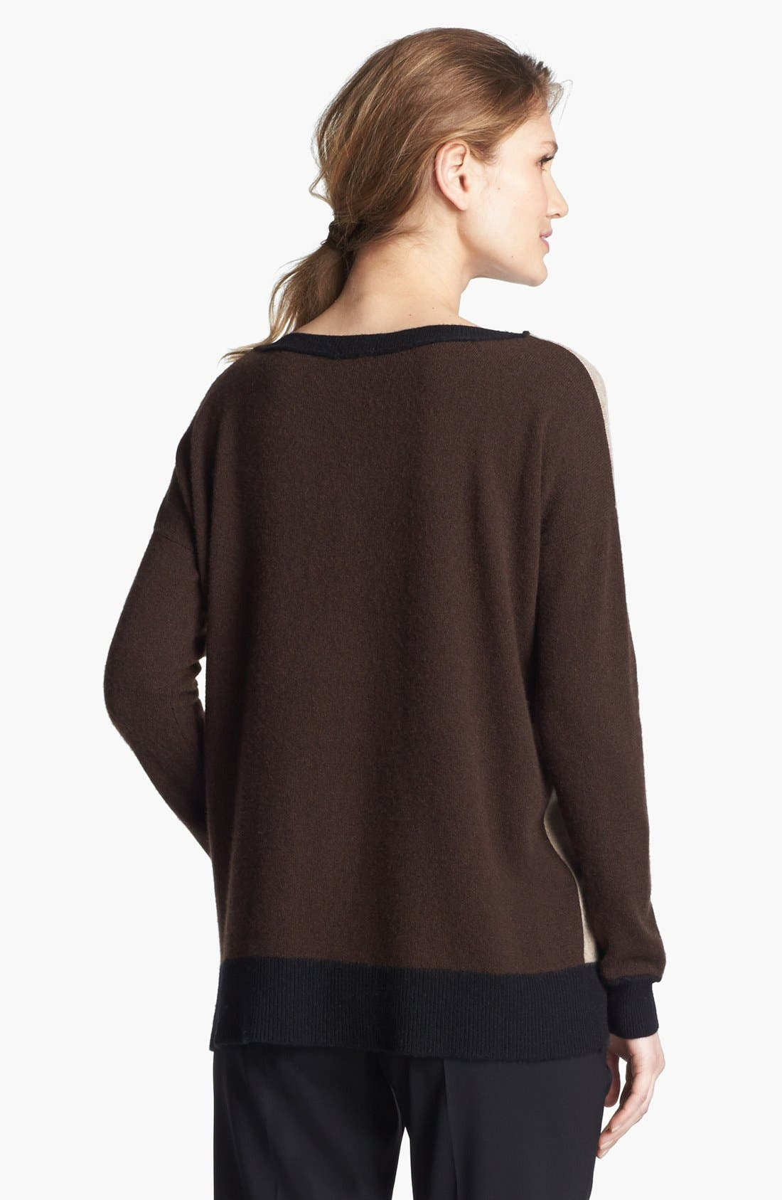 Colorblock Oversized Cashmere Sweater,                             Alternate thumbnail 2, color,                             Sand Multi
