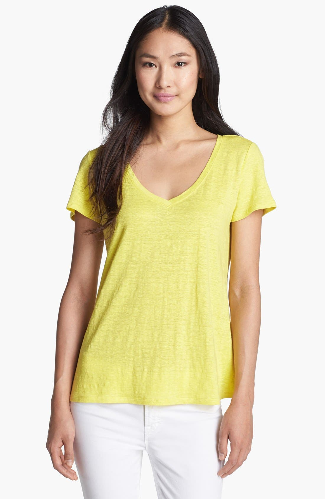 Alternate Image 1 Selected - Eileen Fisher V-Neck Linen Jersey Tee