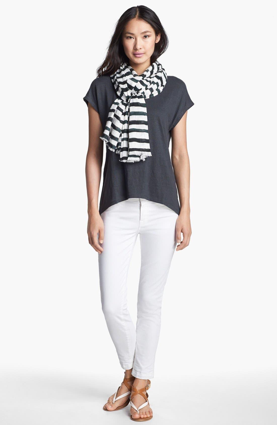 Alternate Image 2  - Eileen Fisher Stripe Linen Twill Scarf