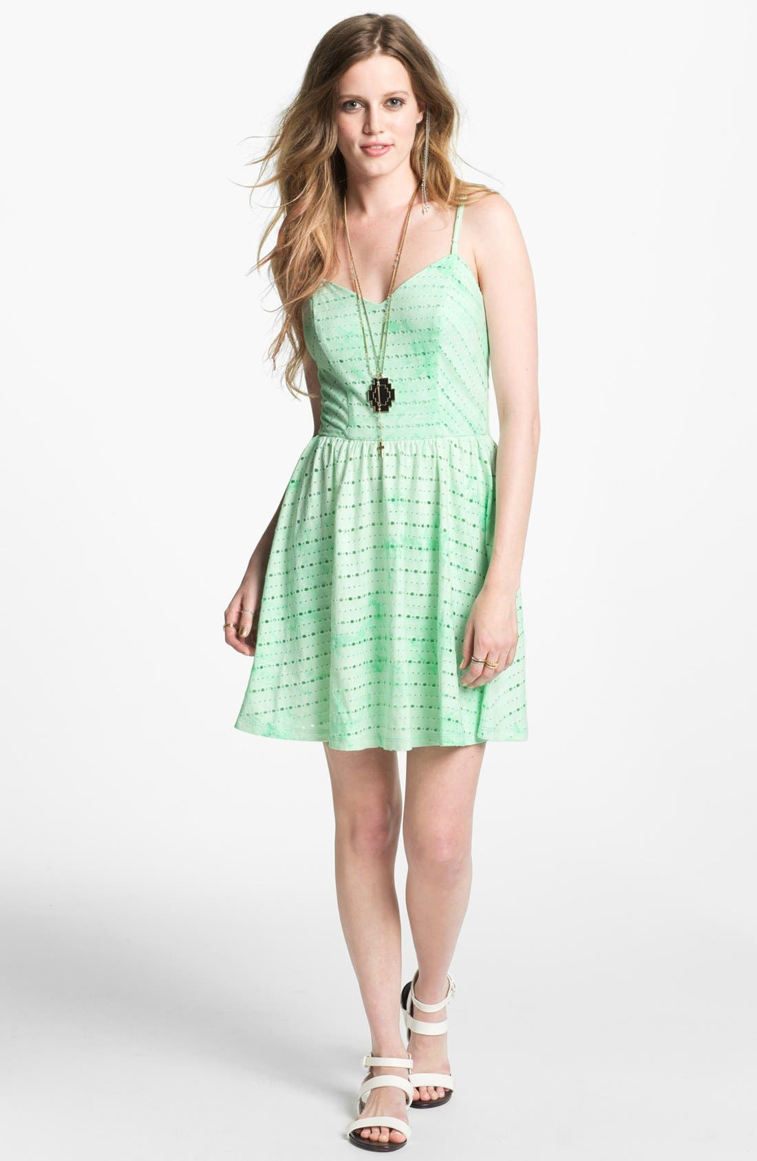 Main Image - Socialite Tie Dye Skater Dress (Juniors)