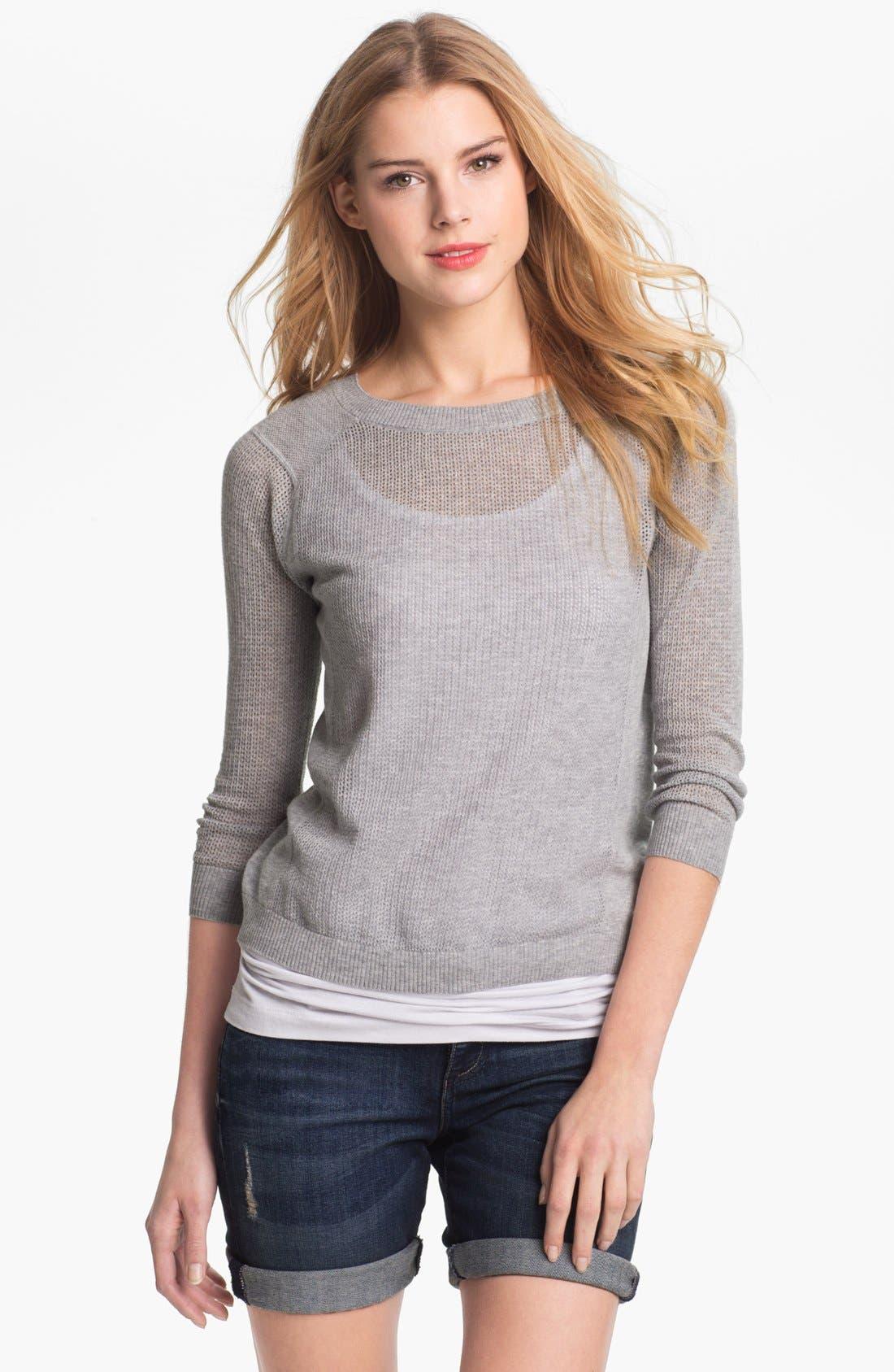 Main Image - Caslon® Three Quarter Sleeve Textured Sweater (Petite)