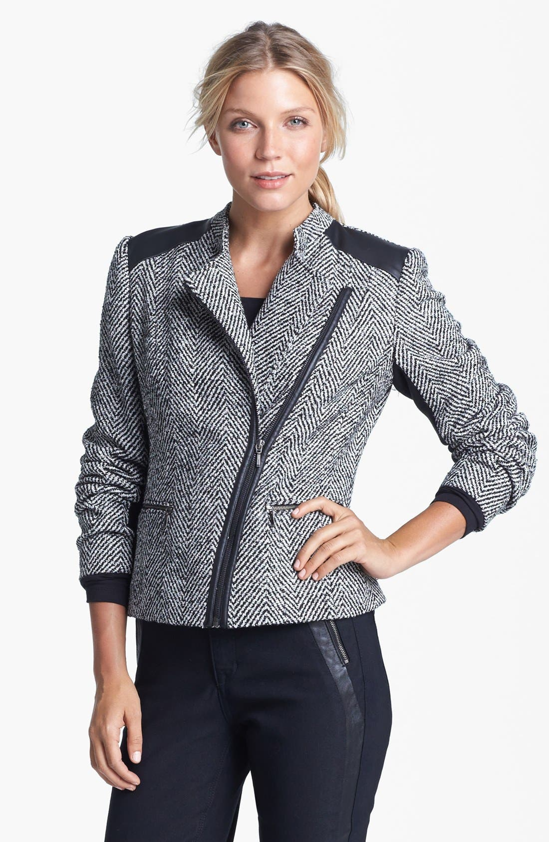 Alternate Image 1 Selected - Amber Sun Tweed Moto Jacket