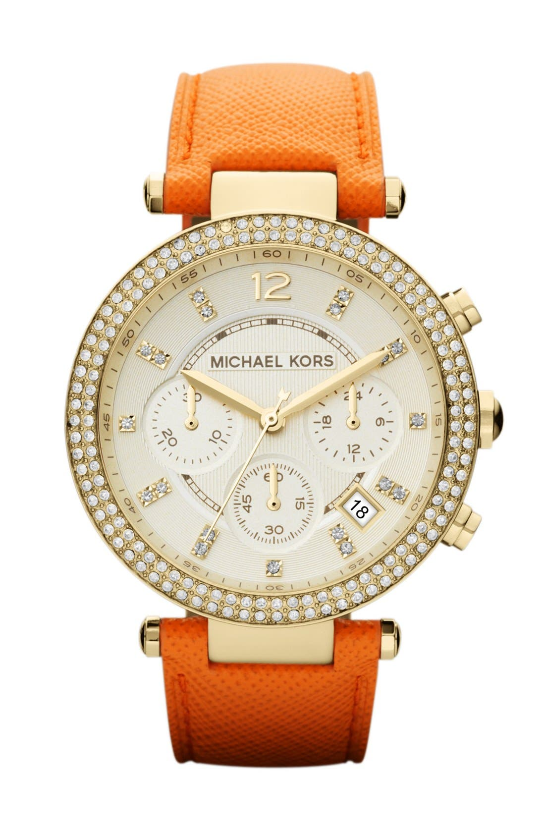 Main Image - Michael Kors 'Parker' Chronograph Leather Watch, 39mm