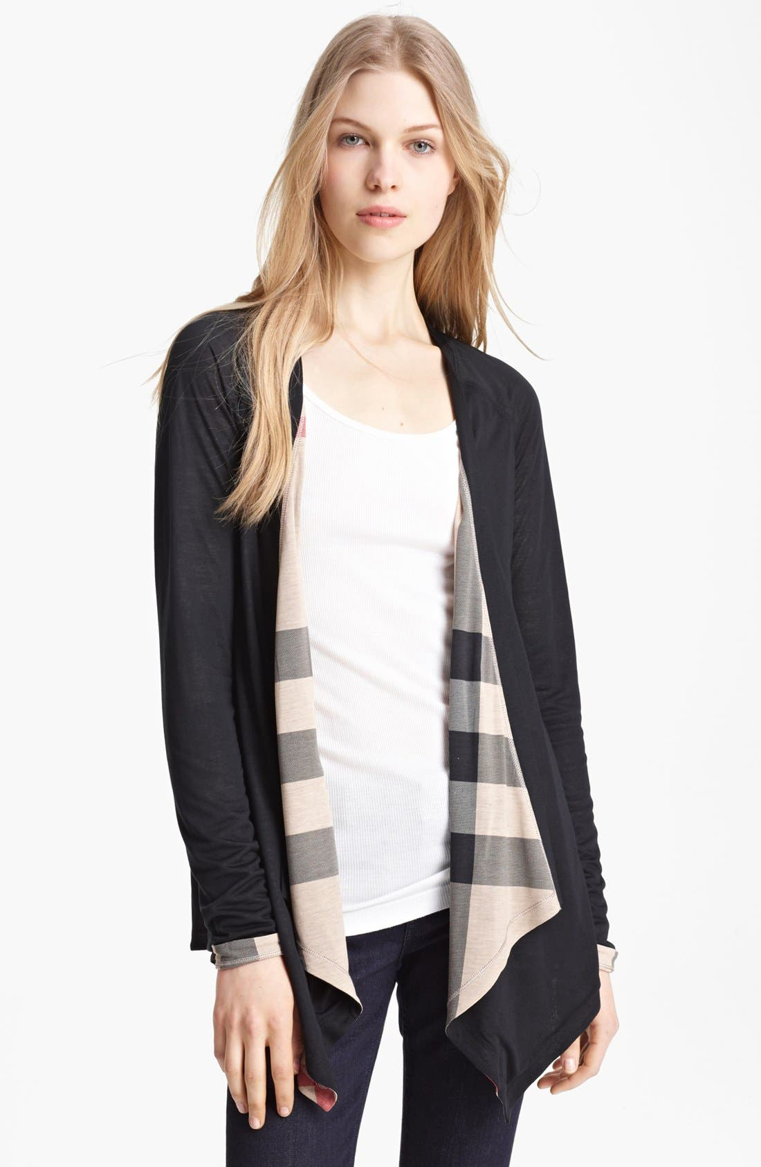 Alternate Image 1 Selected - Burberry Brit Check Trim Drape Front Cardigan