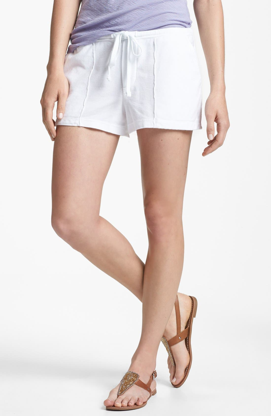 Pintucked Twill Shorts,                         Main,                         color, White