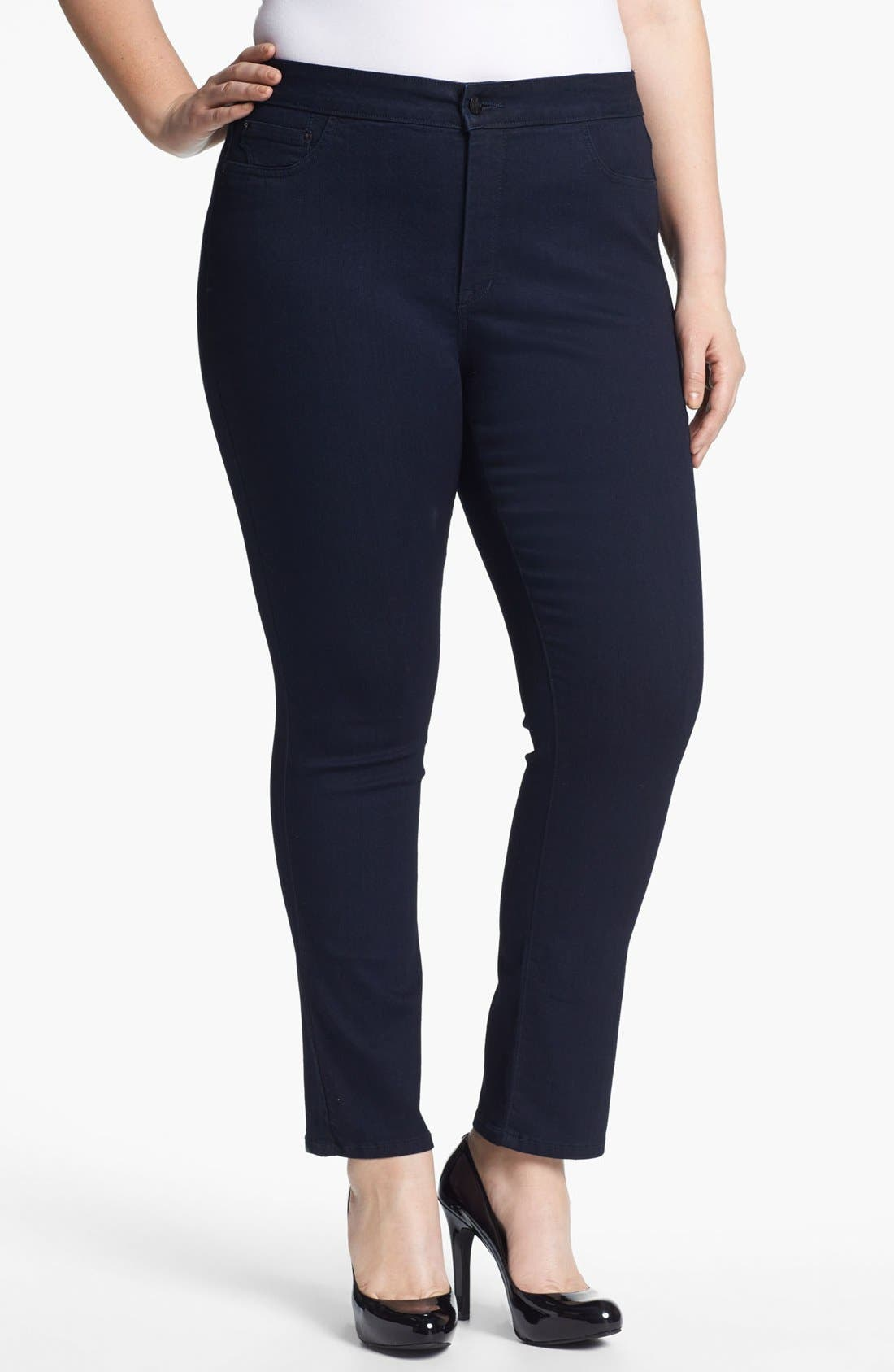 Alternate Image 1 Selected - NYDJ 'Jaclyn' Stretch Skinny Jeans (Resin) (Plus Size)