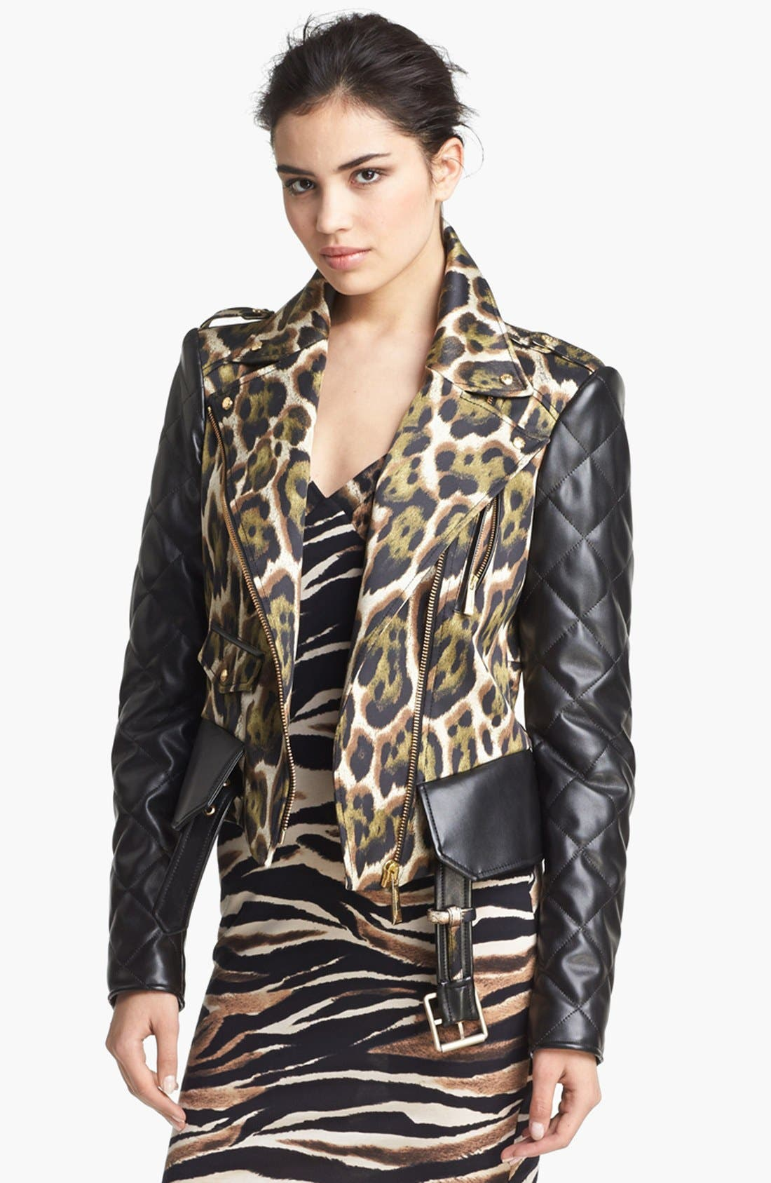 Alternate Image 2  - Just Cavalli Canvas & Leather Moto Jacket