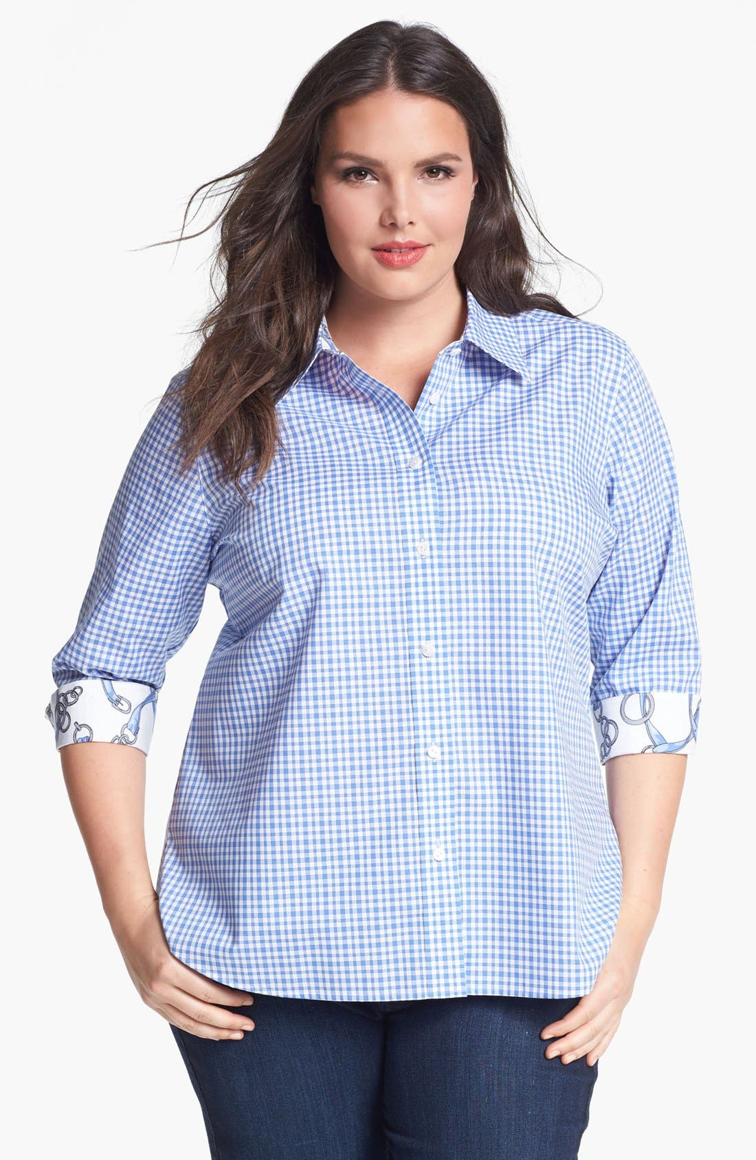 Alternate Image 1 Selected - Foxcroft Gingham Check Shirt (Plus Size)