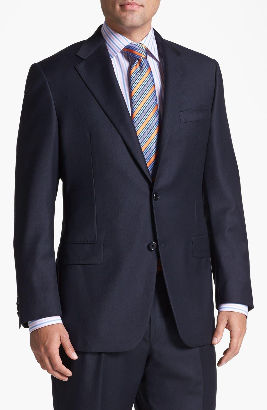 Alternate Image 4  - Hickey Freeman Navy Worsted Wool Suit
