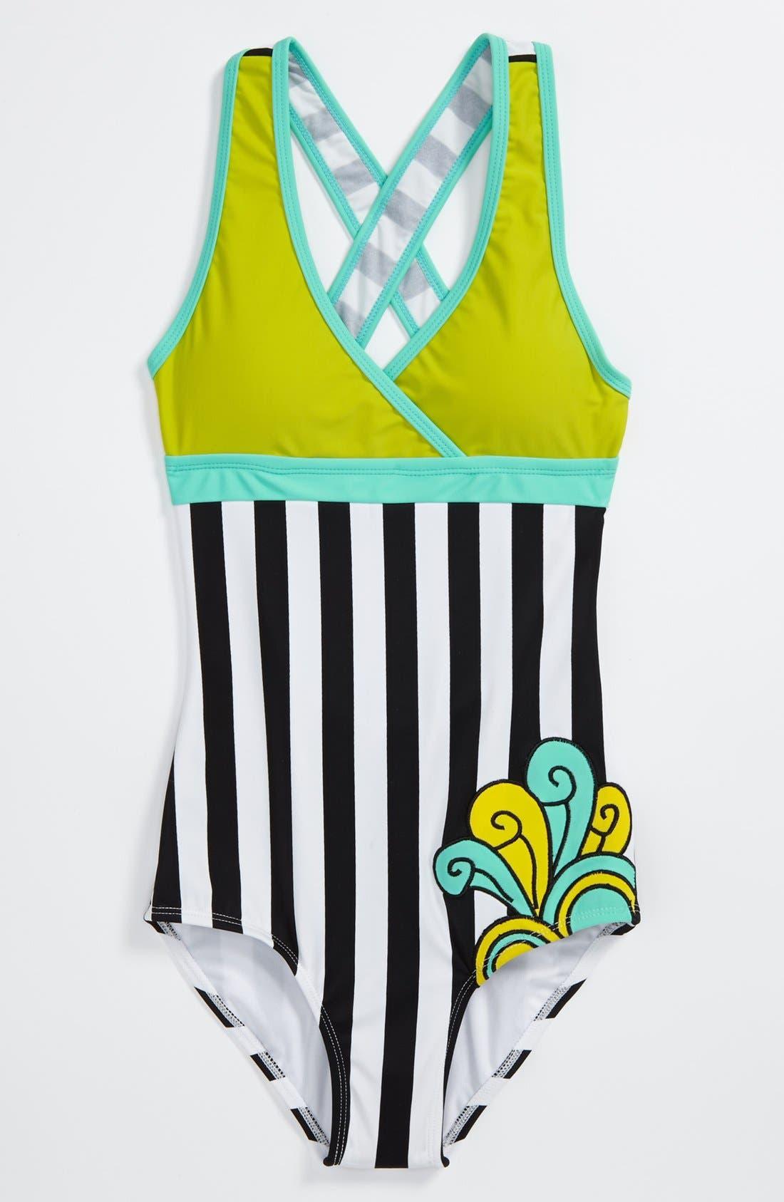 Main Image - Limeapple One Piece Swimsuit (Big Girls)