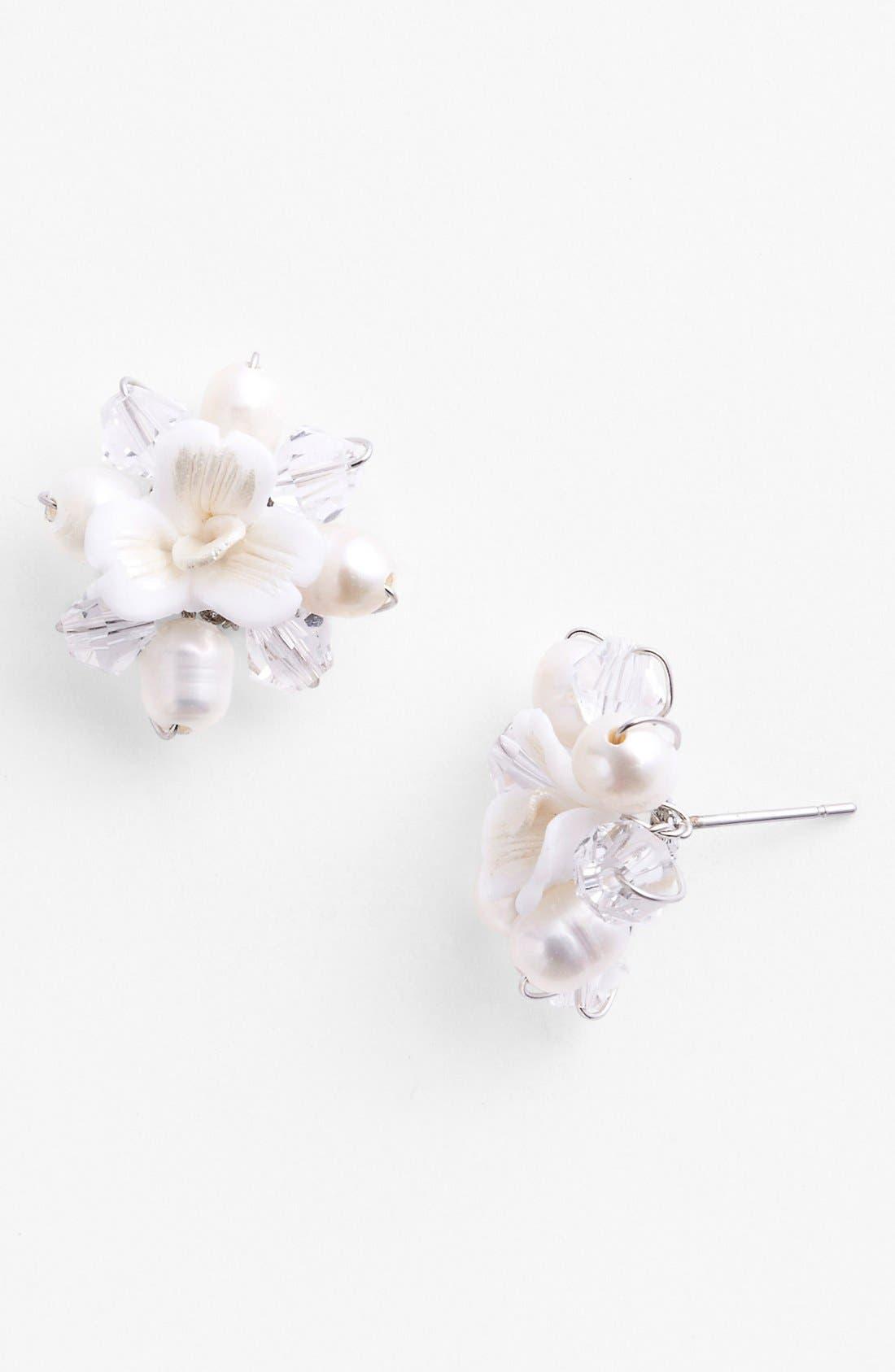 Alternate Image 1 Selected - Nina 'Kerrie' Flower Stud Earrings