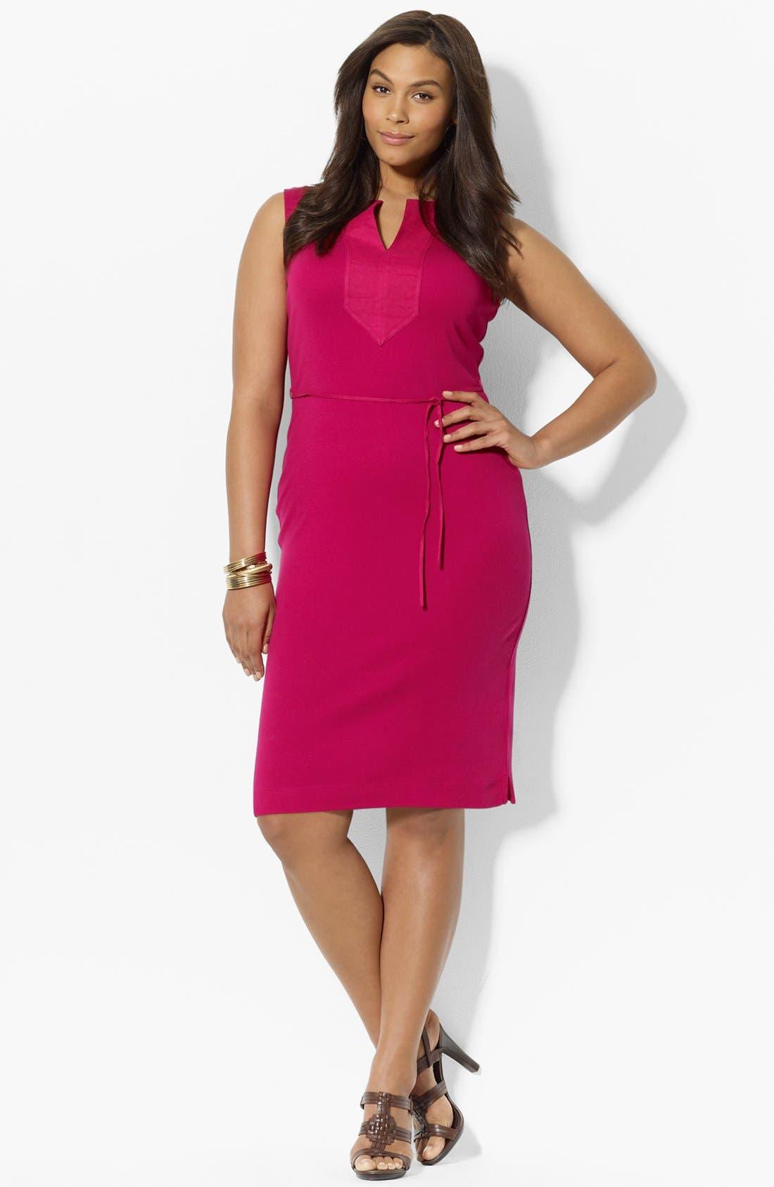 Alternate Image 1 Selected - Lauren Ralph Lauren Woven Trim Cotton Dress (Plus Size)