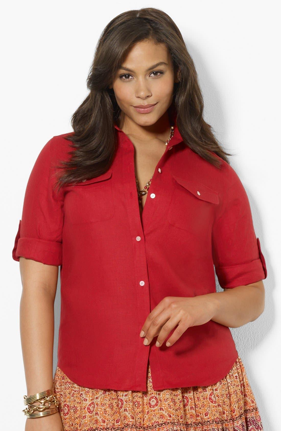 Alternate Image 1 Selected - Lauren Ralph Lauren Linen Work Shirt (Plus Size)