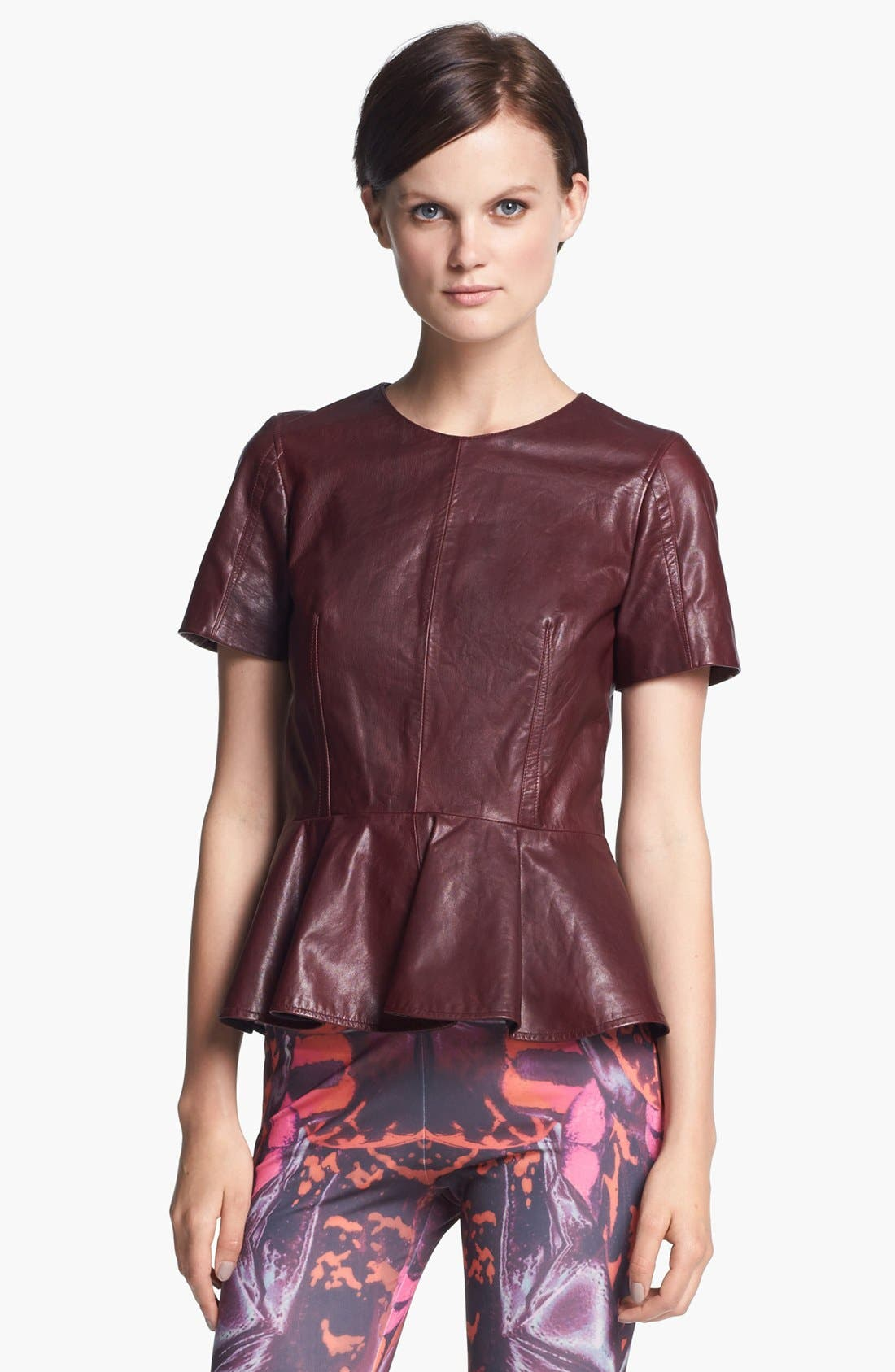Alternate Image 1 Selected - McQ by Alexander McQueen Leather Peplum Top