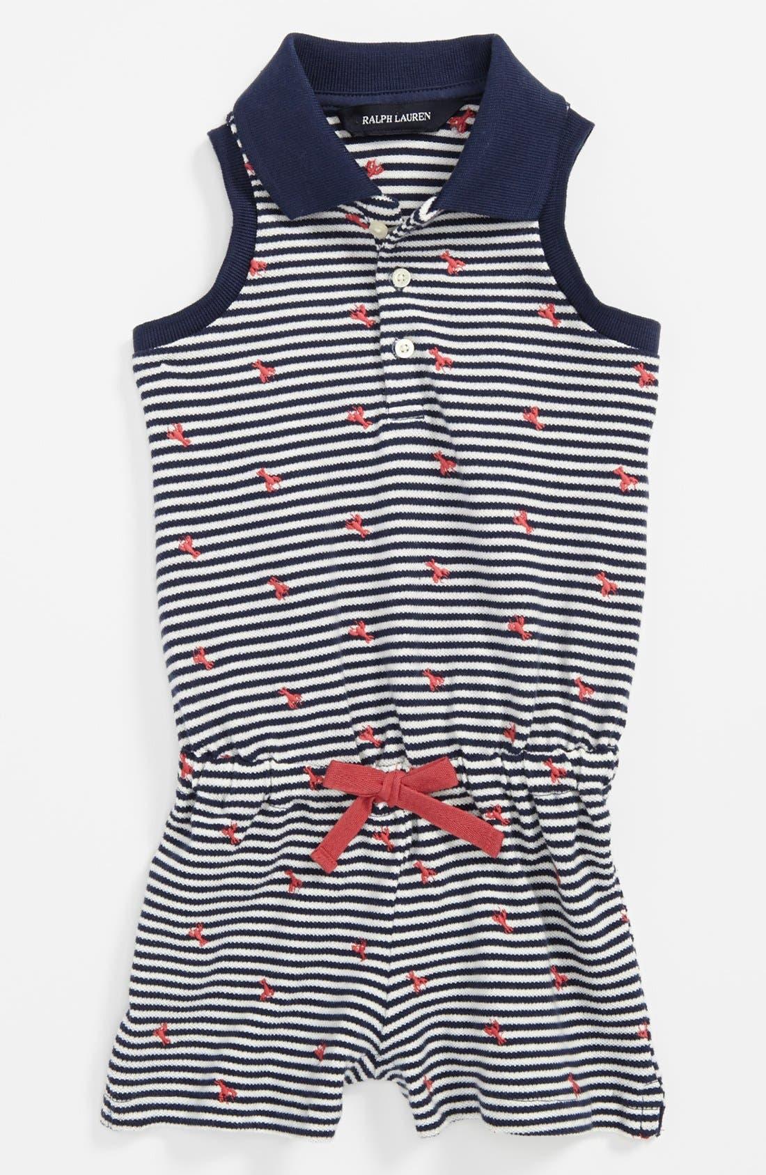 Alternate Image 1 Selected - Ralph Lauren Stripe Polo Coveralls (Baby Girls)