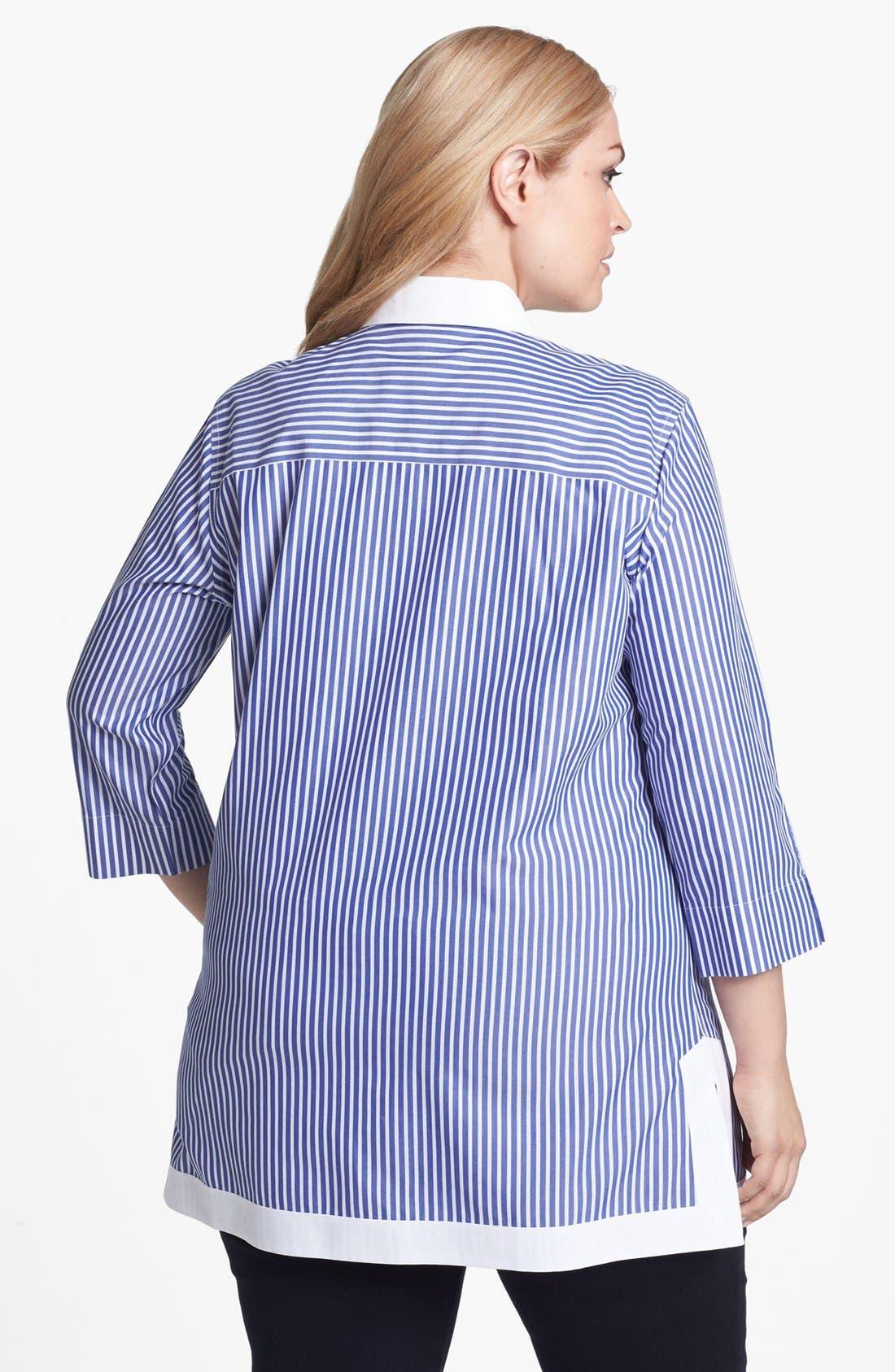 Alternate Image 2  - Foxcroft Stripe Tunic (Plus Size)