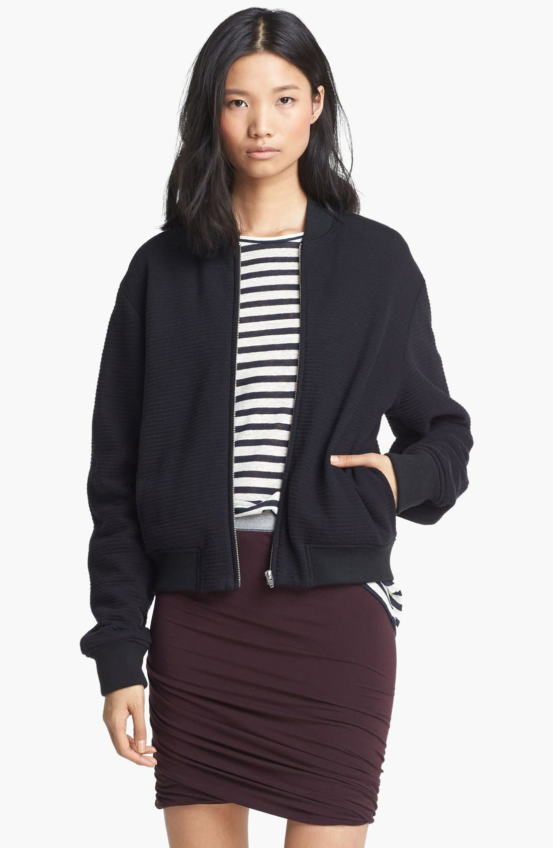 Alternate Image 1 Selected - T by Alexander Wang Ottoman Stitch Bomber Jacket
