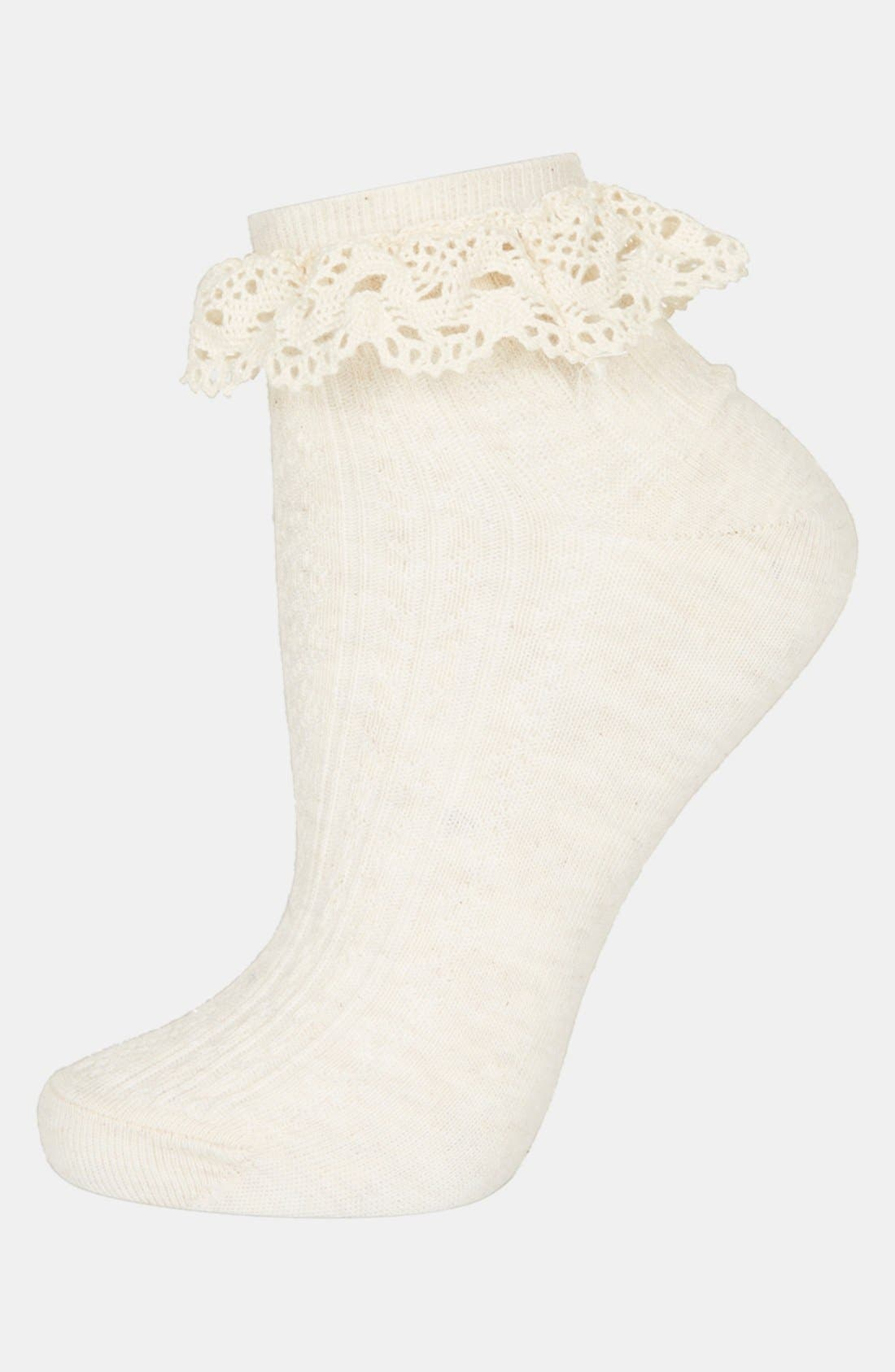 Alternate Image 1 Selected - Topshop Crocheted Trim Ankle Socks
