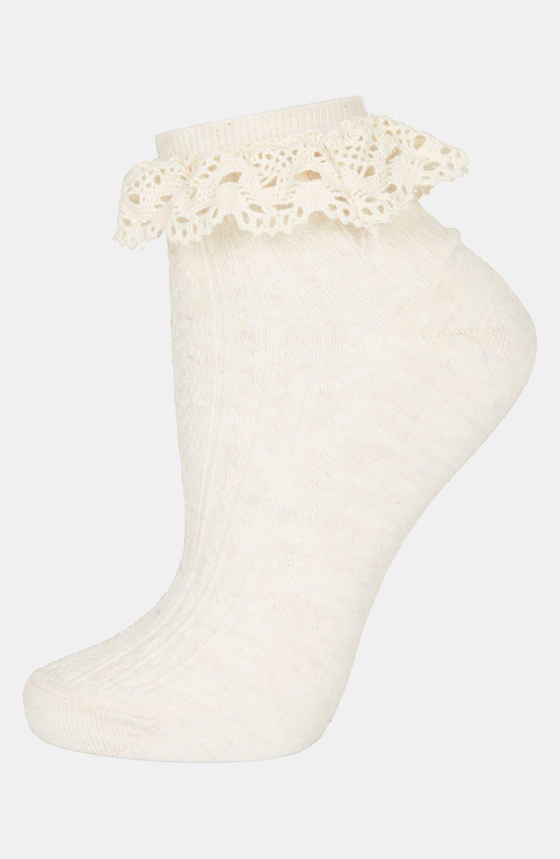 Main Image - Topshop Crocheted Trim Ankle Socks