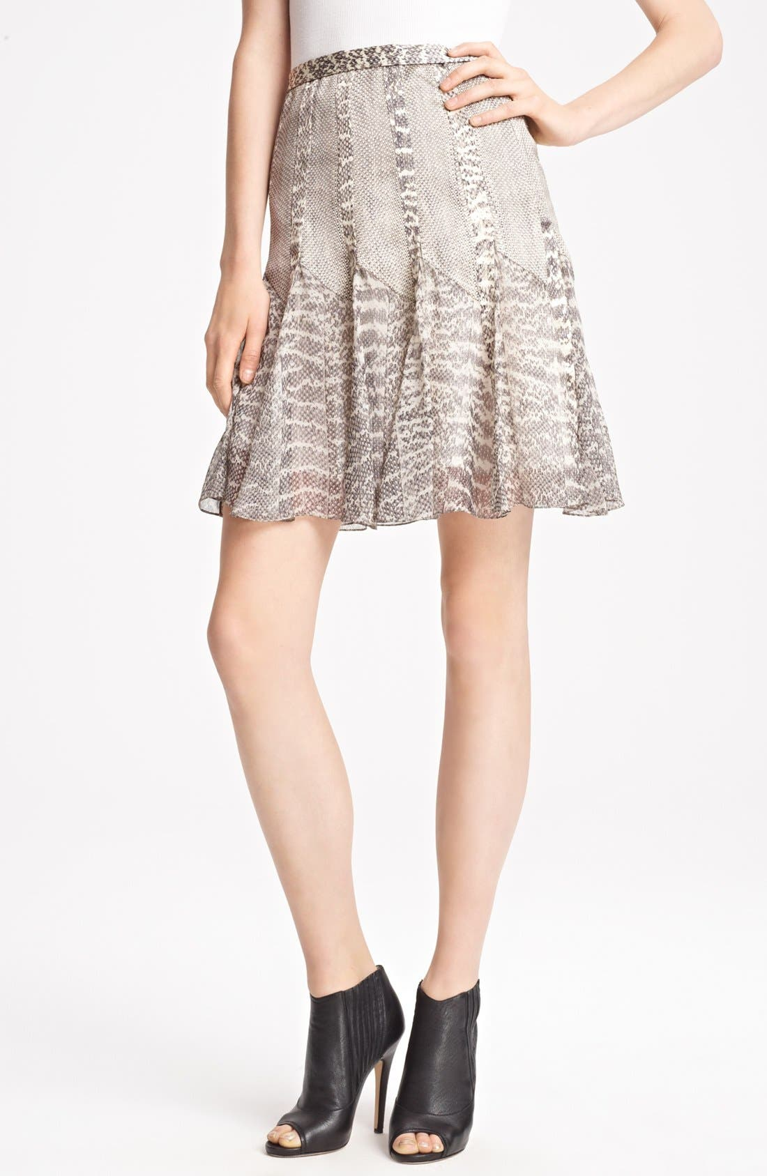 Alternate Image 1 Selected - Jason Wu Snakeskin Print Satin & Chiffon Skirt