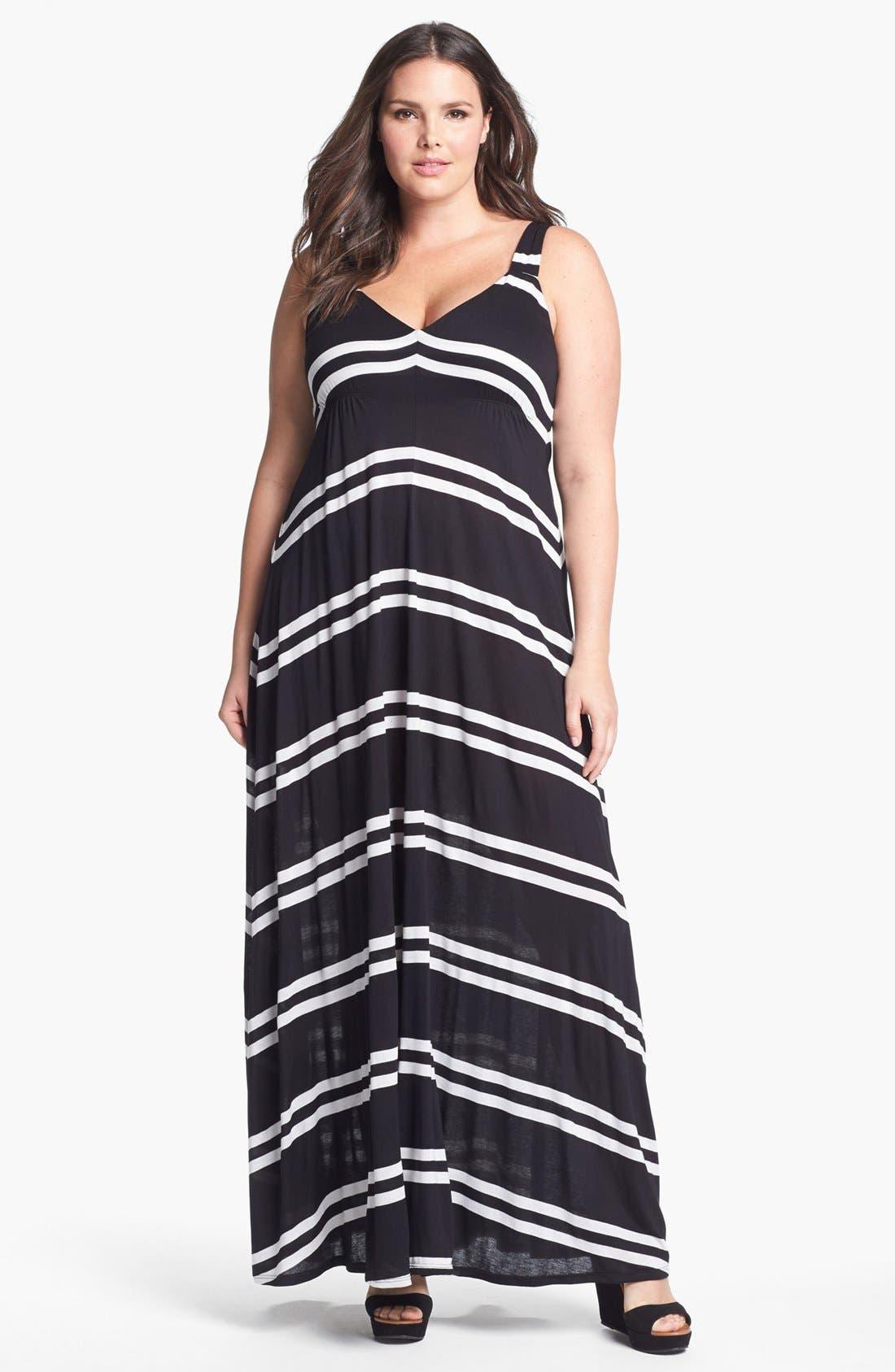 Main Image - Eight Sixty Stripe Jersey Maxi Dress (Plus Size)
