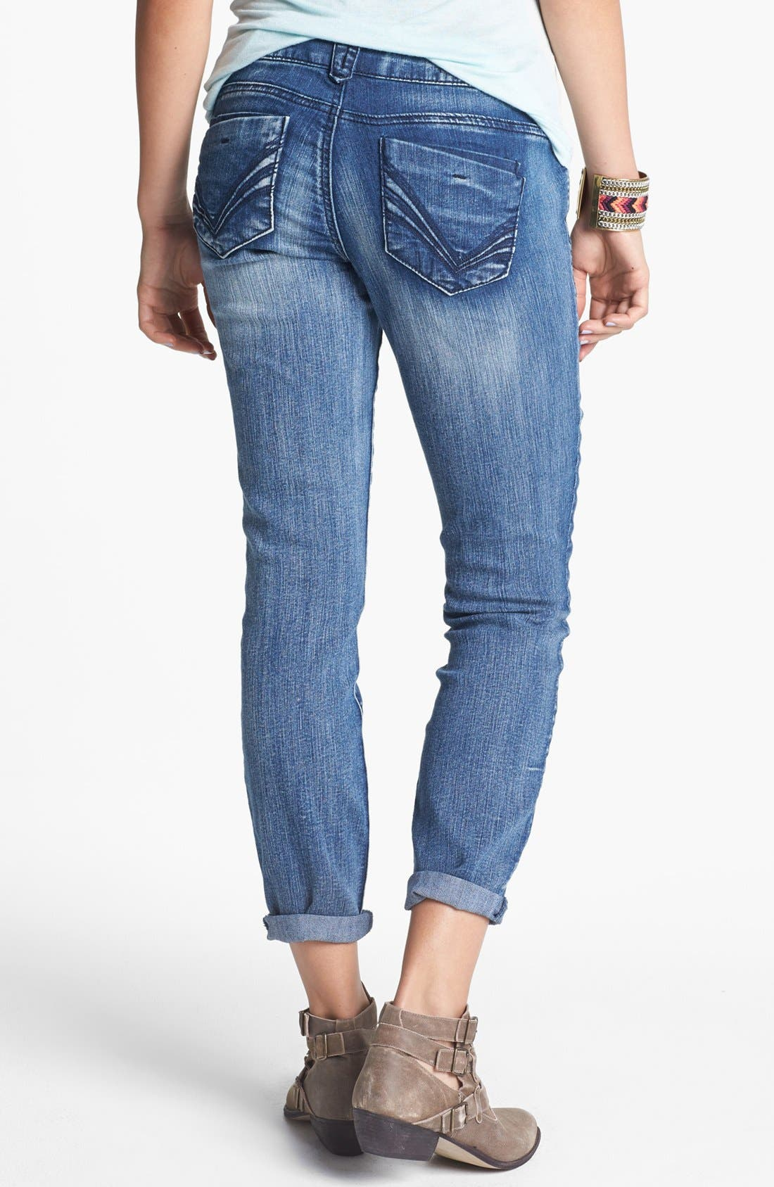 Alternate Image 1 Selected - Jolt Skinny Jeans (Indigo) (Juniors) (Online Only)