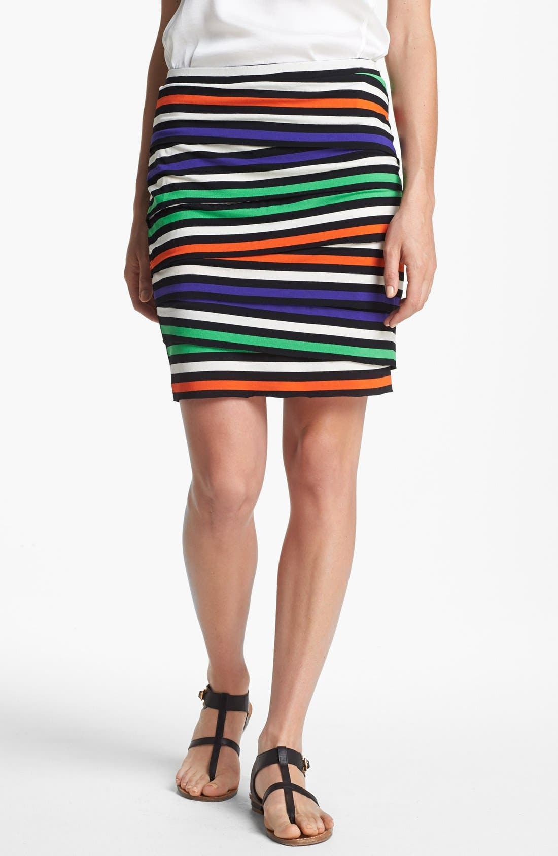 Alternate Image 1 Selected - Vince Camuto Stripe Tiered Skirt