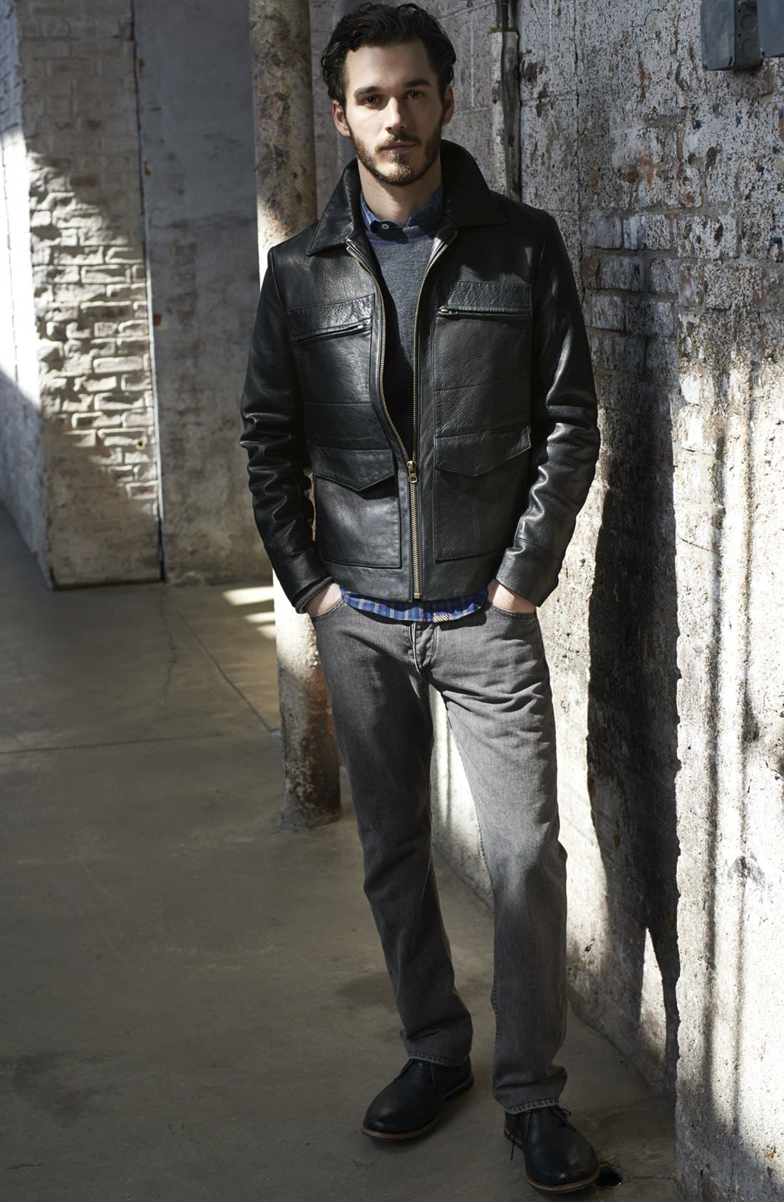 Main Image - Billy Reid Leather Jacket, Sweatshirt & rag & bone Jeans