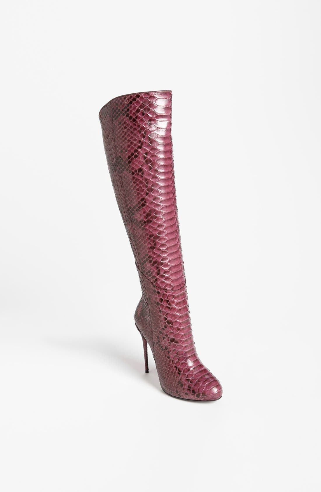 Alternate Image 1 Selected - Gucci 'Kim' Genuine Python Cutaway Knee Boot