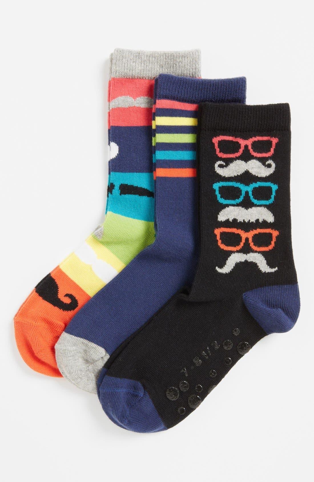 Main Image - Nordstrom 'Mustache Party' Socks (3-Pack) (Kids)
