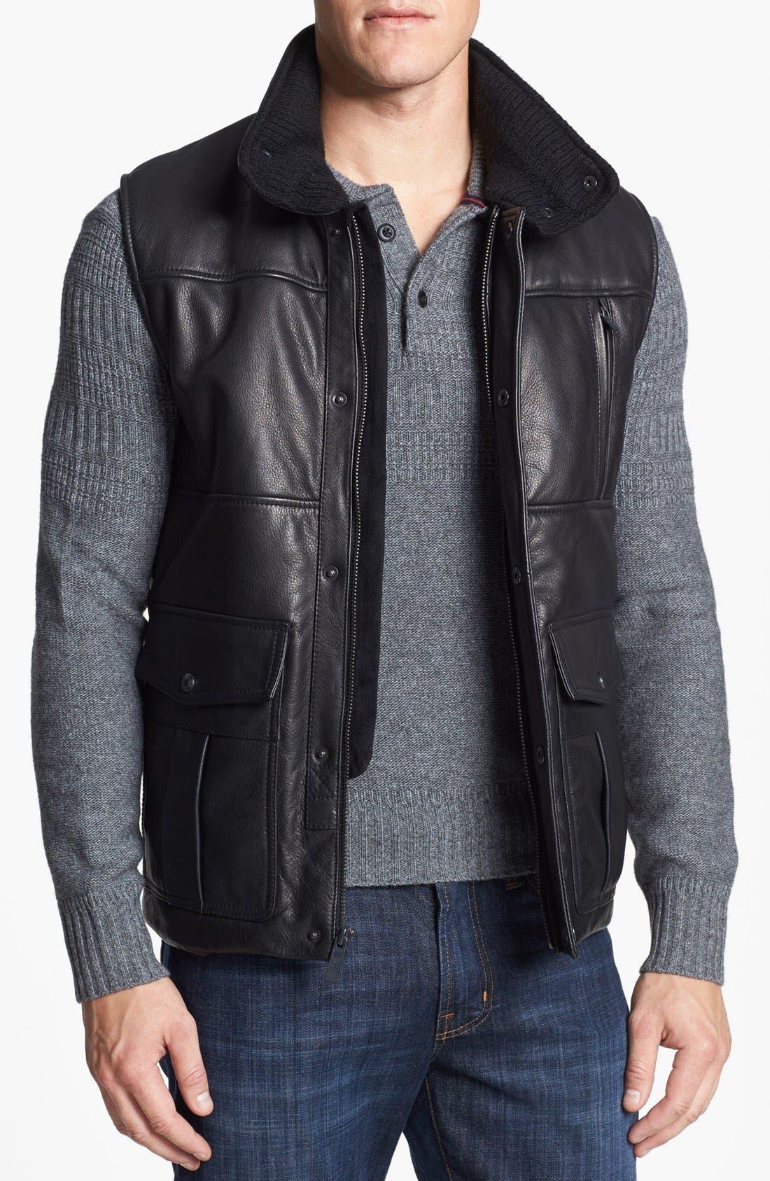 Leather Vest,                             Main thumbnail 1, color,                             Black