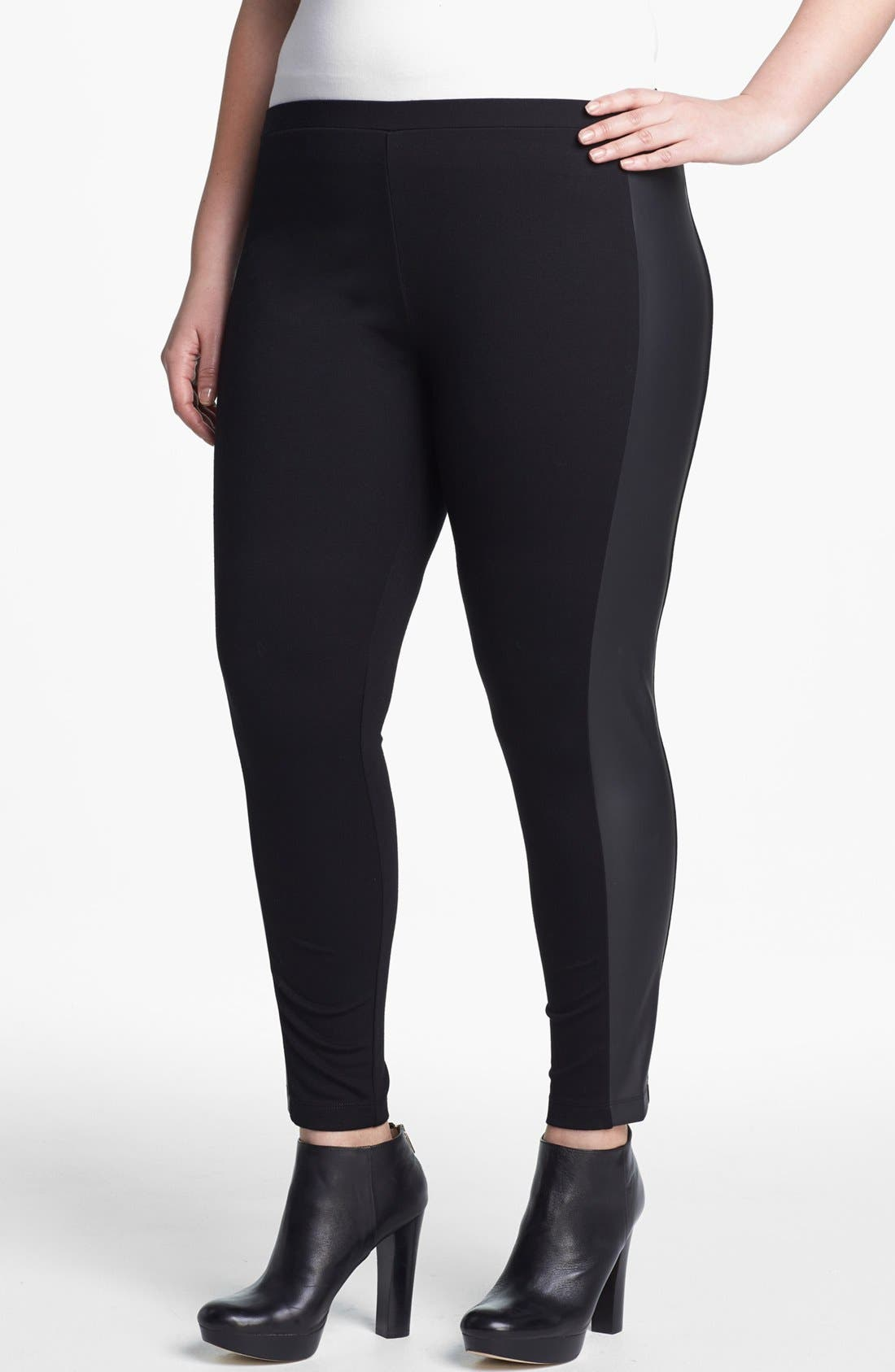 Alternate Image 1 Selected - Vince Camuto Faux Leather Trim Leggings (Plus Size)