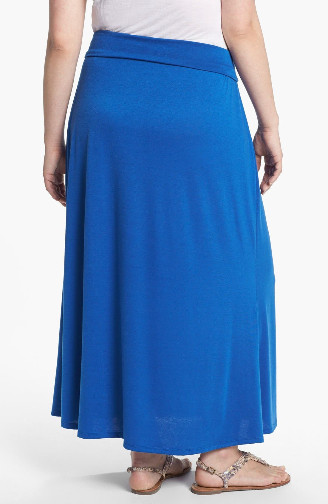 Alternate Image 2  - Lily White Foldover Maxi Skirt (Juniors Plus)