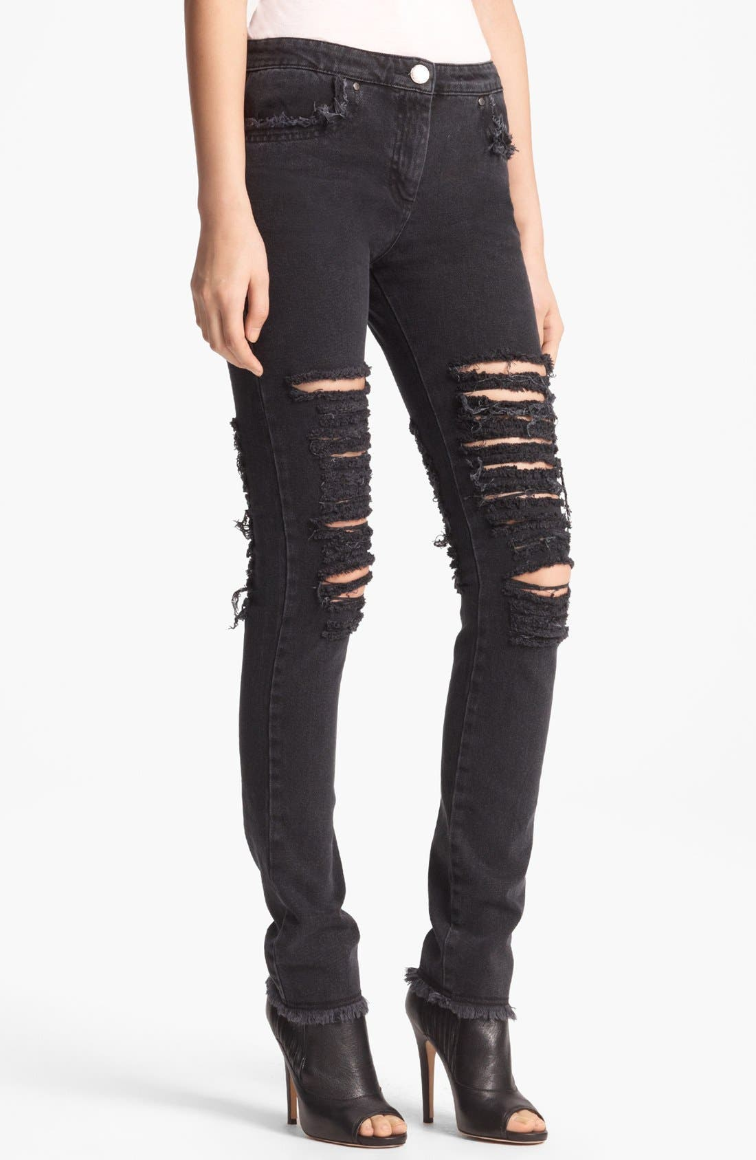 Alternate Image 1 Selected - Christopher Kane Skinny Ripped Stretch Jeans