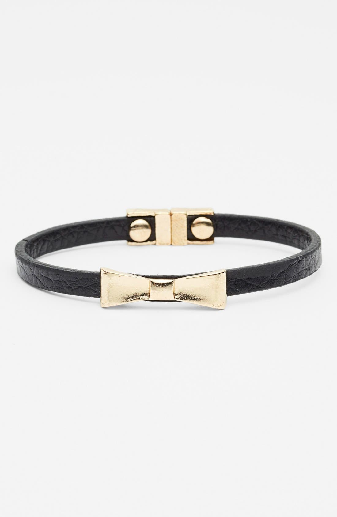 Main Image - Carole Bow Faux Leather Bracelet (Juniors)