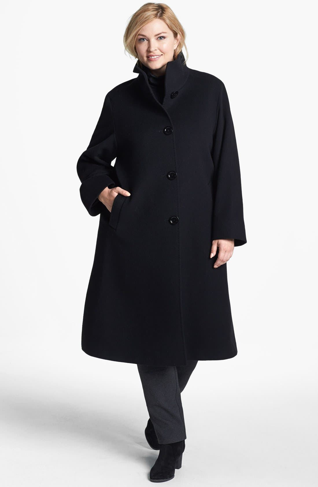 Main Image - Cinzia Rocca Due Stand Collar Long Wool & Angora Blend Coat (Plus Size)