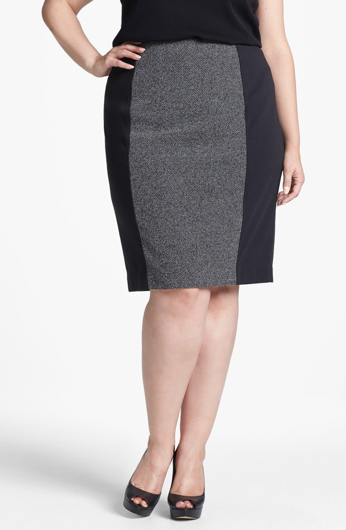 Alternate Image 1 Selected - Sejour Print Ponte Pencil Skirt (Plus Size)