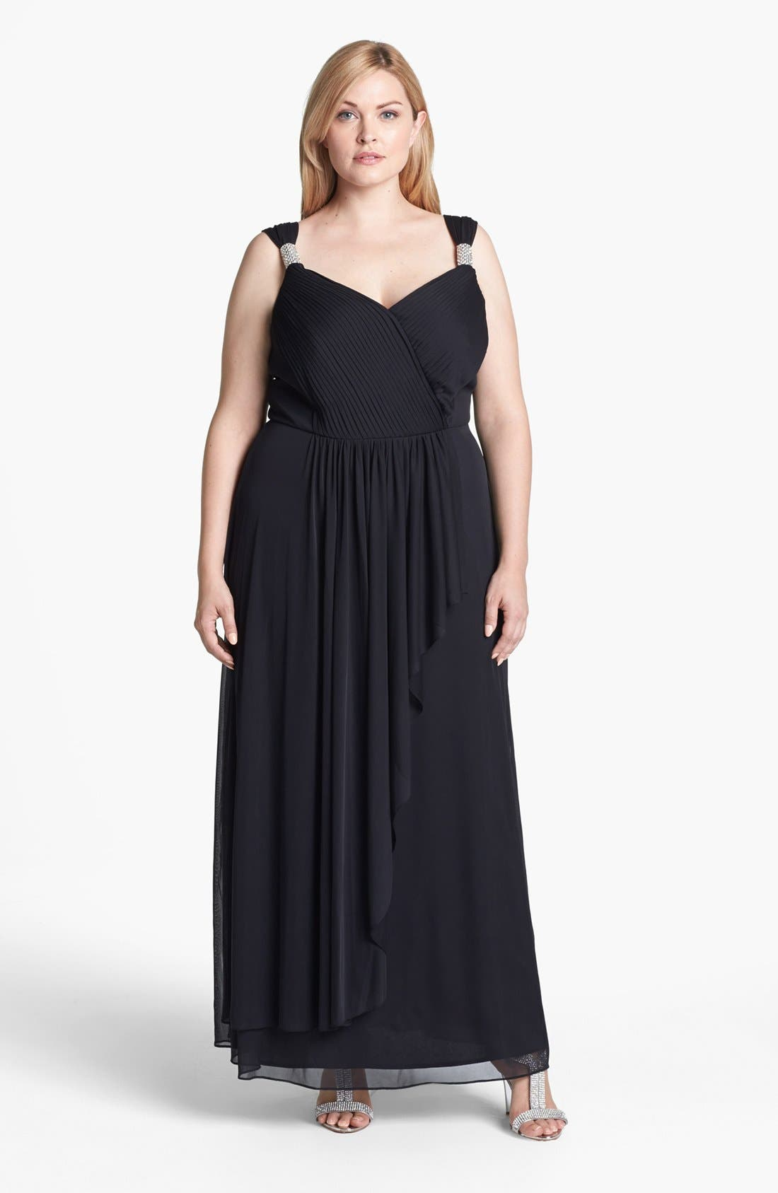 Alternate Image 1 Selected - Alex Evenings Embellished Pleat Front Faux Wrap Gown (Plus Size)